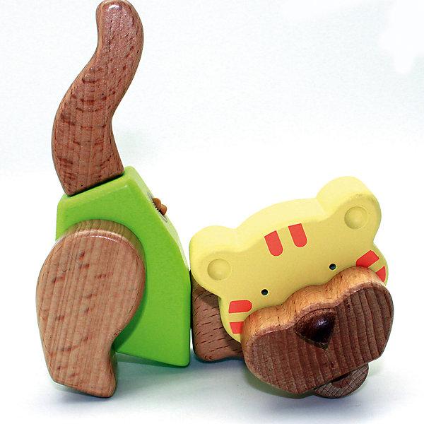 Деревянная игрушка Тигр, EQBМир животных<br>Деревянная игрушка Тигр, EQB – это деревянный конструктор, предназначенный для раннего развития малыша.<br>Конструктор EQB включает 9 крупных деревянных элементов, с помощью которых ребенок легко сможет собрать игрушку в виде Тигра с подвижными конечностями. Главная особенность конструктора - оригинальное крепление clicknturn 360. Это крепление позволяет легко соединять детали и вращать их на 360 градусов. Детали изготовлены из твердых пород древесины, окрашены натуральными красителями, вручную и обработаны растительными маслами для создания ровной и гладкой поверхности. Конструктор полностью безопасен для детей. Тренирует усидчивость, мелкую моторику руку и развивает навыки конструирования с раннего детства. В комплект входит текстильный мешочек, затягивающийся сверху на кулиску, в котором удобно хранить конструктор.<br><br>Дополнительная информация:<br><br>- В наборе: 9 деталей, мешочек, инструкция<br>- Материал: древесина<br>- Размер готовой игрушки: 6 х 17 х 12 см.<br>- Размер упаковки: 10 x 19,5 x 8,5 см.<br>- Вес: 290 гр.<br><br>Деревянную игрушку Тигр, EQB можно купить в нашем интернет-магазине.<br>Ширина мм: 100; Глубина мм: 195; Высота мм: 85; Вес г: 290; Возраст от месяцев: 36; Возраст до месяцев: 96; Пол: Унисекс; Возраст: Детский; SKU: 4387474;