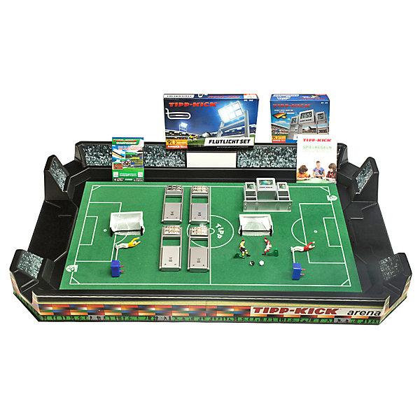 Футбол настольный Арена 95 х 53 см, TIPP-KICKИгровые наборы<br>Футбол настольный Арена 95 х 53 см, TIPP – это игра станет отличным подарком не только ребенку, но и взрослому, любящему спортивные игры.<br>Футбол настольный TIPP-KICK Арена изготовлен в виде футбольной арены из прочного пластика. Входящие в комплект наклейки с имитацией присутствия зрителей на трибунах и рекламы на бортах игровой арены создают реальное ощущение стадиона. Футбольное интерактивное табло отображает игровое время матча и счет забитых голов. При включении табло играет национальная музыка Вашей любимой команды с помощью специального чипа (в комплект не входит). На интерактивном табло игра начинается со свиста, а забитый гол сопровождается бурной реакцией болельщиков. Табло устанавливается на специально отведенное на арене место. Освещение спортивного объекта по периметру арены выполняется четырьмя светодиодными прожекторами. На футбольном бархатном поле зеленого цвета с разметкой высокого качества и логотипом TIPP-KICK, с двух сторон арены легко вставляются пластиковые ворота с натянутой сеткой белого цвета. Ловкий вратарь из латуни со специальным механизмом, позволяющим фигурке двигаться из положения стоя в положение лежа, вправо и влево, отразит любую атаку противника на ворота, которую смогут организовать игроки в Ваших ловких руках. Удары по мячу наносят, нажимая на кнопку на голове полевого игрока. Победителем объявляется игрок, забивший больше голов, чем соперник. Игра развивает ловкость, быстроту реакции, стремление к победе и соревновательные навыки.<br><br>Дополнительная информация:<br><br>- В наборе: арена 95х53 см (размеры футбольного поля 82х46см), 2 самоклеющиеся картинки 70х50см, интерактивное табло (работает от 2-х батареек типа АА,LR6 1.5B), 4 светодиодных прожектора (каждый работает от 3-х батареек типа АА,LR6 1.5B), 2 ворот с сеткой, 2 вратаря из латуни на специальных механизмах, 2 игрока из латуни с встроенным механизмом, 2 двухцветных черно-белых мяча<br>- Вратарь и игрок