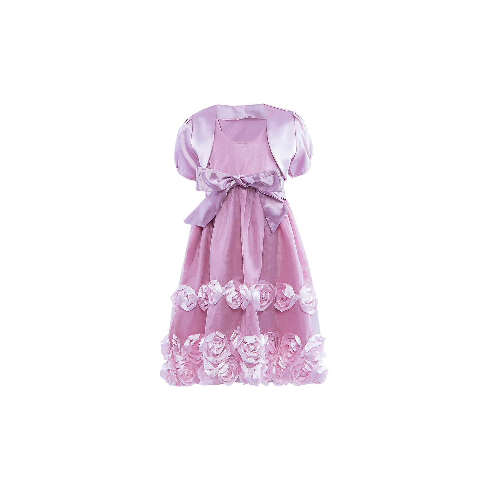 Платье ВенераНарядное платье для девочки. Комплект состоят из платья и атласной горжетки. Платье с пышной юбкой, украшенной объемными розами и атласным поясом.<br><br>Ширина мм: 236<br>Глубина мм: 16<br>Высота мм: 184<br>Вес г: 177<br>Цвет: розовый<br>Возраст от месяцев: 60<br>Возраст до месяцев: 72<br>Пол: Женский<br>Возраст: Детский<br>Размер: 110/116,98/104,104/110,116/122<br>SKU: 4388958