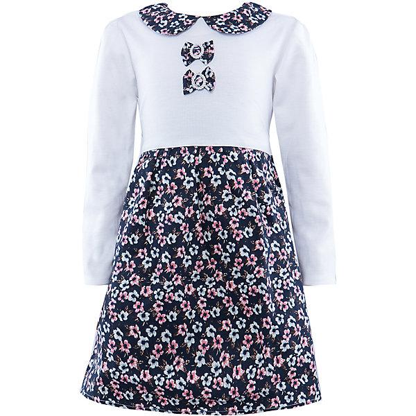 Платье ВенераОдежда<br>Платье для девочки с длинным рукавом. Изделие декорировано двумя бантиками-брошью. Боротник платья в одной цветовой гамме с юбкой платья. На спинке молния, так же есть пояс для регулирования ширины.<br><br>Ширина мм: 236<br>Глубина мм: 16<br>Высота мм: 184<br>Вес г: 177<br>Цвет: белый<br>Возраст от месяцев: 36<br>Возраст до месяцев: 48<br>Пол: Женский<br>Возраст: Детский<br>Размер: 98/104,110/116,116/122,104/110<br>SKU: 4388973