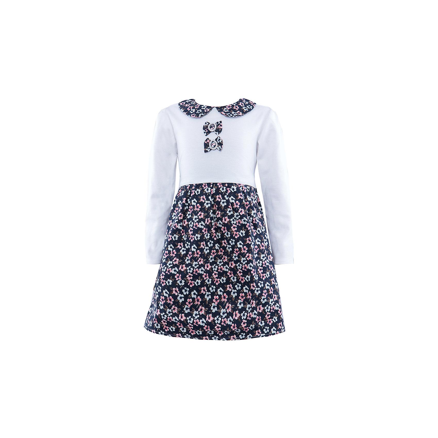 Платье ВенераОдежда<br>Платье для девочки с длинным рукавом. Изделие декорировано двумя бантиками-брошью. Боротник платья в одной цветовой гамме с юбкой платья. На спинке молния, так же есть пояс для регулирования ширины.<br><br>Ширина мм: 236<br>Глубина мм: 16<br>Высота мм: 184<br>Вес г: 177<br>Цвет: белый<br>Возраст от месяцев: 36<br>Возраст до месяцев: 48<br>Пол: Женский<br>Возраст: Детский<br>Размер: 98/104,116/122,110/116,104/110<br>SKU: 4388973