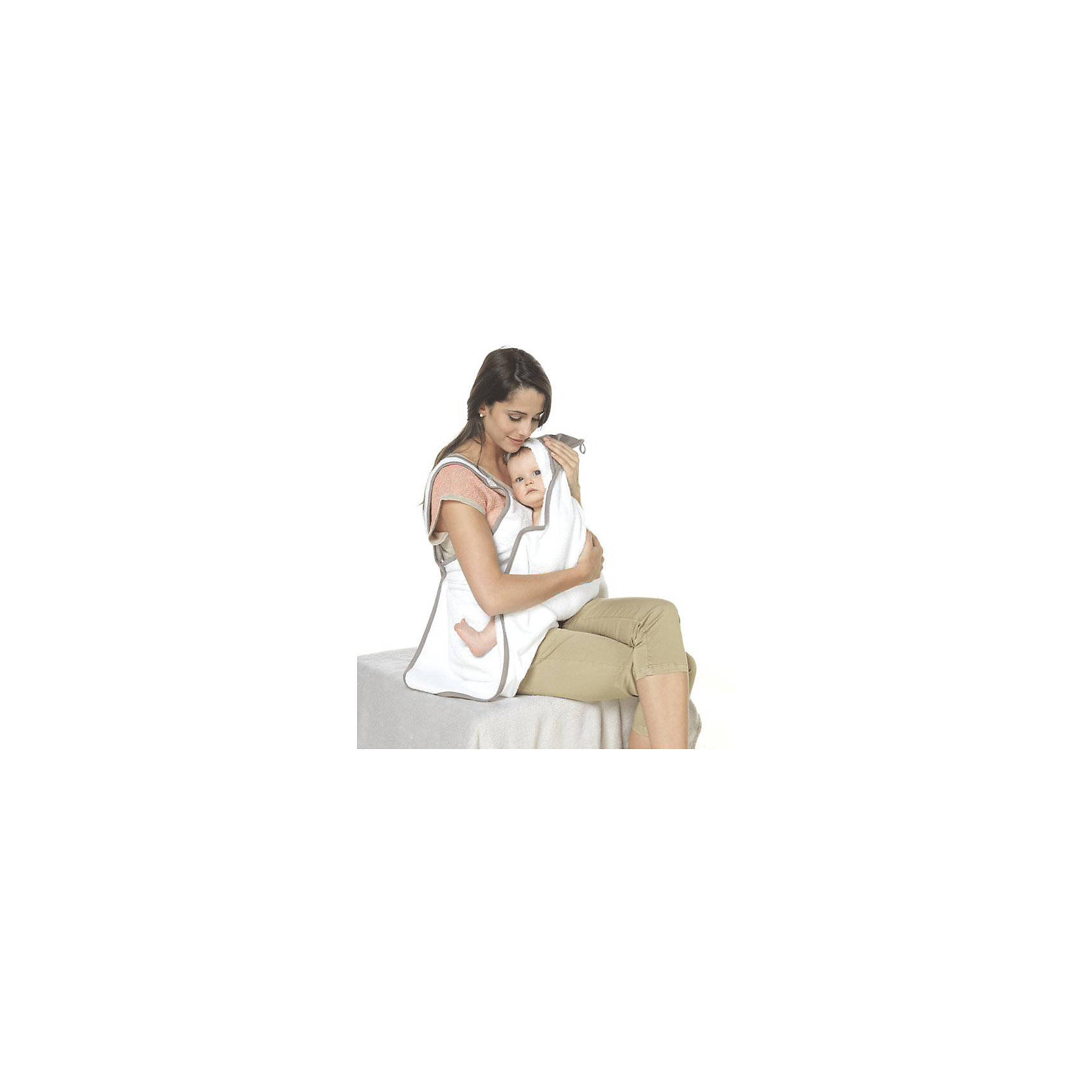 Махровое полотенце-фартук с уголком 0-36 мес, Red Castle, белый/темно-серыйМахровое полотенце-фартук с уголком, Red Castle, прекрасно подойдет для ухода за нежной кожей малыша. Полотенце изготовлено из мягкой, хорошо впитывающей влагу высококачественной махровой ткани, устойчивой к появлению затяжек. Благодаря большому размеру и особому крою полотенца в форме фартука процесс купания малыша станет проще и приятнее. Закрепив фартук-полотенце вокруг шеи с помощью застежек-кнопок, Вы защитите одежду от брызг и избежите лишних движений. При этом Ваши руки останутся свободными, что поможет крепче держать малыша, доставая его из ванной и быстро укутать. Допустима машинная стирка.<br><br><br>Дополнительная информация:<br><br>- Цвет: белый/темно-серый.<br>- Возраст: 0-36 мес.<br>- Материал: махровая ткань (100% хлопок) (400г/м?).<br>- Размер полотенца: длина - 120 см., ширина - 100 см., по диагонали - 145 см.<br>- Размер упаковки: 22 х 8 х 30 см.<br>- Вес: 0,76 кг. <br><br>Махровое полотенце-фартук с уголком, Red Castle, белый/темно-серый, можно купить в нашем интернет-магазине.<br><br>Ширина мм: 220<br>Глубина мм: 80<br>Высота мм: 300<br>Вес г: 760<br>Цвет: белый/серый<br>Возраст от месяцев: 0<br>Возраст до месяцев: 36<br>Пол: Унисекс<br>Возраст: Детский<br>SKU: 4389004