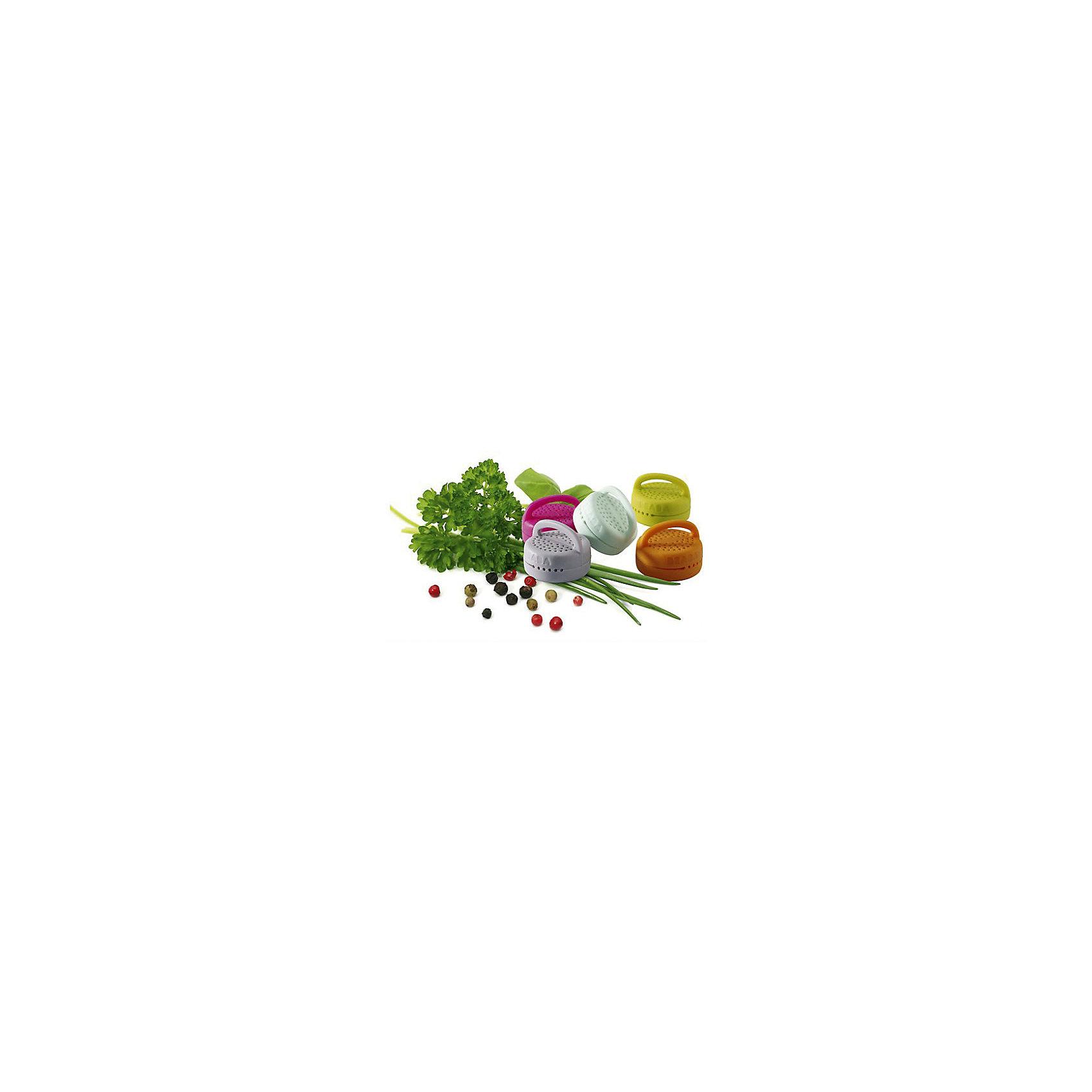 Силиконовый контейнер для специй, BeabaСиликоновый контейнер для специй, Beaba, прекрасно подойдет для приготовления детских блюд и хранения специй. Различные специи и ароматные травы расширяют вкус малыша и обогащают блюда полезными витаминами и микроэлементами. В удобный компактный контейнер можно положить любые специи и травы и при приготовлении пищи поместить емкость прямо на продукты или опустить в бульон. Маленькие отверстия в контейнере не позволят мелким частицам приправы проникнуть в еду и ребенок не сможет ими подавиться. При этом все полезные вещества от приправы попадут в блюдо. В комплект входят два контейнера.<br><br>Дополнительная информация:<br><br>- В комплекте: 2 контейнера.<br>- Материал: силикон.<br>- Размер контейнера: 4 х 4 х 2,5 см. <br>- Размер упаковки: 20 x 12 x 4 см.<br>- Вес: 70 гр.<br><br>Силиконовый контейнер для специй, Beaba, можно купить в нашем интернет-магазине.<br><br>Ширина мм: 120<br>Глубина мм: 40<br>Высота мм: 200<br>Вес г: 70<br>Возраст от месяцев: 4<br>Возраст до месяцев: 36<br>Пол: Унисекс<br>Возраст: Детский<br>SKU: 4389021