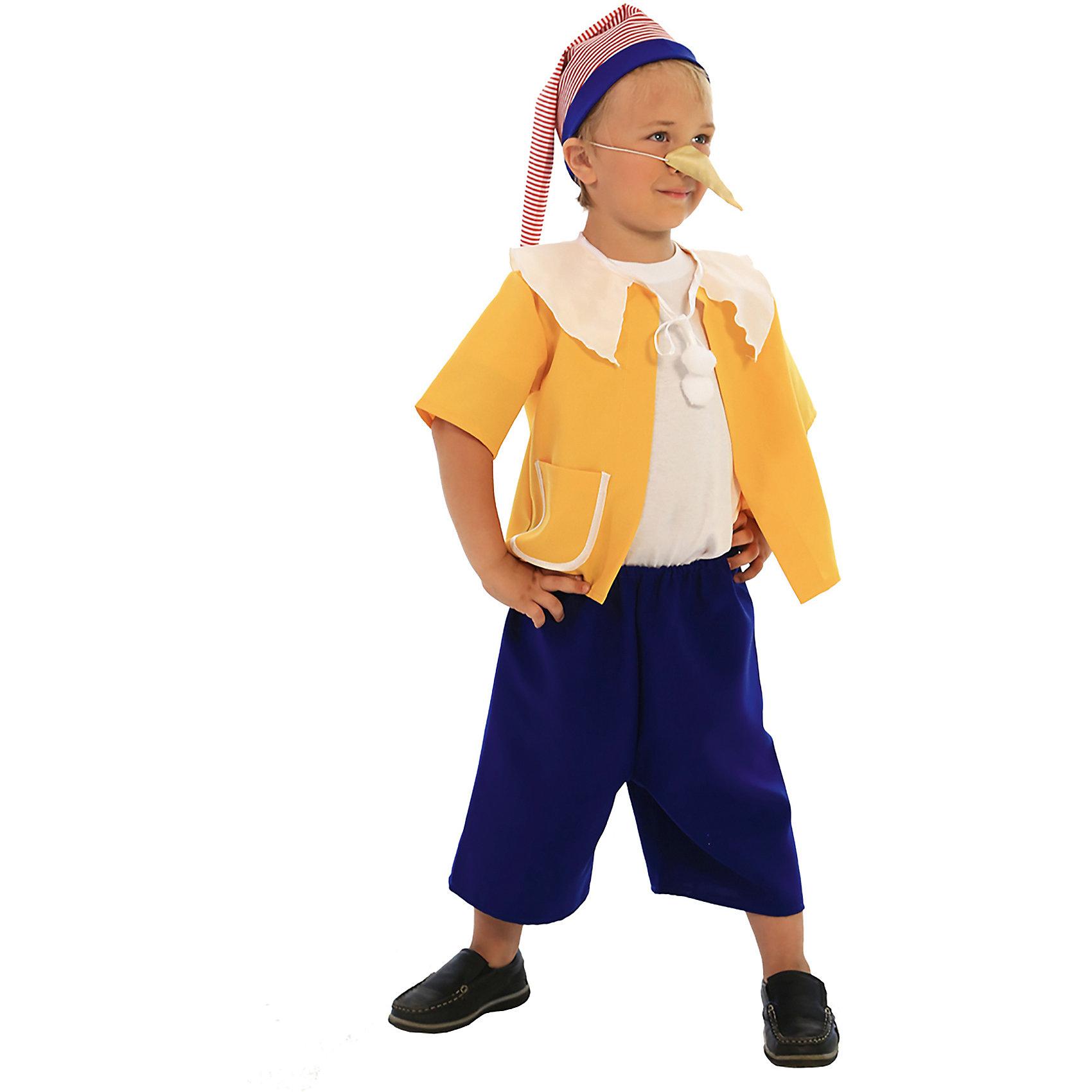 Карнавальный костюм для мальчика Буратино, ВестификаВ погоне за Золотым ключиком Буратино попадает во всевозможные переделки. На пути его ожидает огромное количество приключений, поучаствовать в которых мечтают все мальчишки. Карнавальный костюм Буратино поможет им в этом. Костюм состоит из свободной желтой курточки, выполненной из желтого габардина, и свободных шорт, выполненных из синего габардина, и колпака из полосатой хлопчатобумажной ткани. Свободные шорты собраны по талии на резинку и не стесняют движения. Желтая курточка украшена белым воротничком, кармашком и помпонами на завязочках. Рекомендуем дополнить карнавальный костюм Буратино обувью в цвет костюма, белыми носочками и белой майкой или футболкой.<br><br>Дополнительная информация:<br><br>Комплектация:<br>Рубашка из габардина с помпонами<br>Шорты из габардина<br>Колпак из тиси<br>Нос на резинке<br>Ткани:<br>Габардин (100% полиэстер)<br>Тиси (80% полиэстер, 20% хлопок)<br><br>Карнавальный костюм для мальчика Буратино, Вестифика можно купить в нашем магазине.<br><br>Ширина мм: 236<br>Глубина мм: 16<br>Высота мм: 184<br>Вес г: 230<br>Цвет: разноцветный<br>Возраст от месяцев: 36<br>Возраст до месяцев: 60<br>Пол: Мужской<br>Возраст: Детский<br>Размер: 98/110,116/122<br>SKU: 4389230