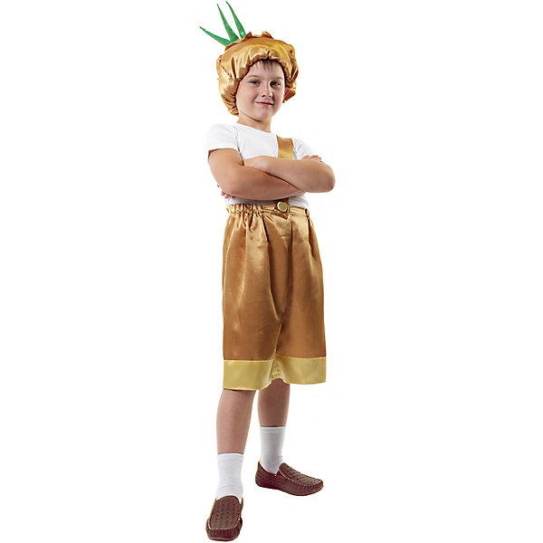 Карнавальный костюм для мальчика Чипполино, ВестификаКарнавальные костюмы для мальчиков<br>Веселый и озорной герой одноименной сказки - Чиполлино - нравится всем мальчишкам. Карнавальный костюм Чиполлино создан специально для них. Костюм состоит из бридж и шапки. Бриджи снабжены косой помочью, которая перекидывается через одно плечи. По низу бриджи отделаны крепсатином светлого тона. В комплект входит также сложная шапка, имитирующая луковую шелуху. Шапка выполнена из крепсатина нескольких цветов, подбита синтепоном и снабжена хлоптачтобумажной подкладкой. Стрелки лука уплотнены для придания формы. Рекомендуем дополнить костюм Чиполлино белой футболкой, белыми носочками и обувью в тон костюма или чешками. Костюм Чиполлино может использоваться как костюм Лука.<br><br>Дополнительная информация:<br><br>Комплектация:<br>Бриджи с помочами из крепсатина<br>Шапка из крепсатина<br>Ткани:<br>Крепсатин (100% полиэстер)<br>Бязь (100% хлопок)<br>Синтепон (100% полиэстер)<br><br>Карнавальный костюм для мальчика Чипполино, Вестифика можно купить в нашем магазине.<br>Ширина мм: 236; Глубина мм: 16; Высота мм: 184; Вес г: 240; Возраст от месяцев: 96; Возраст до месяцев: 108; Пол: Мужской; Возраст: Детский; Размер: 128/134,116/122; SKU: 4389233;