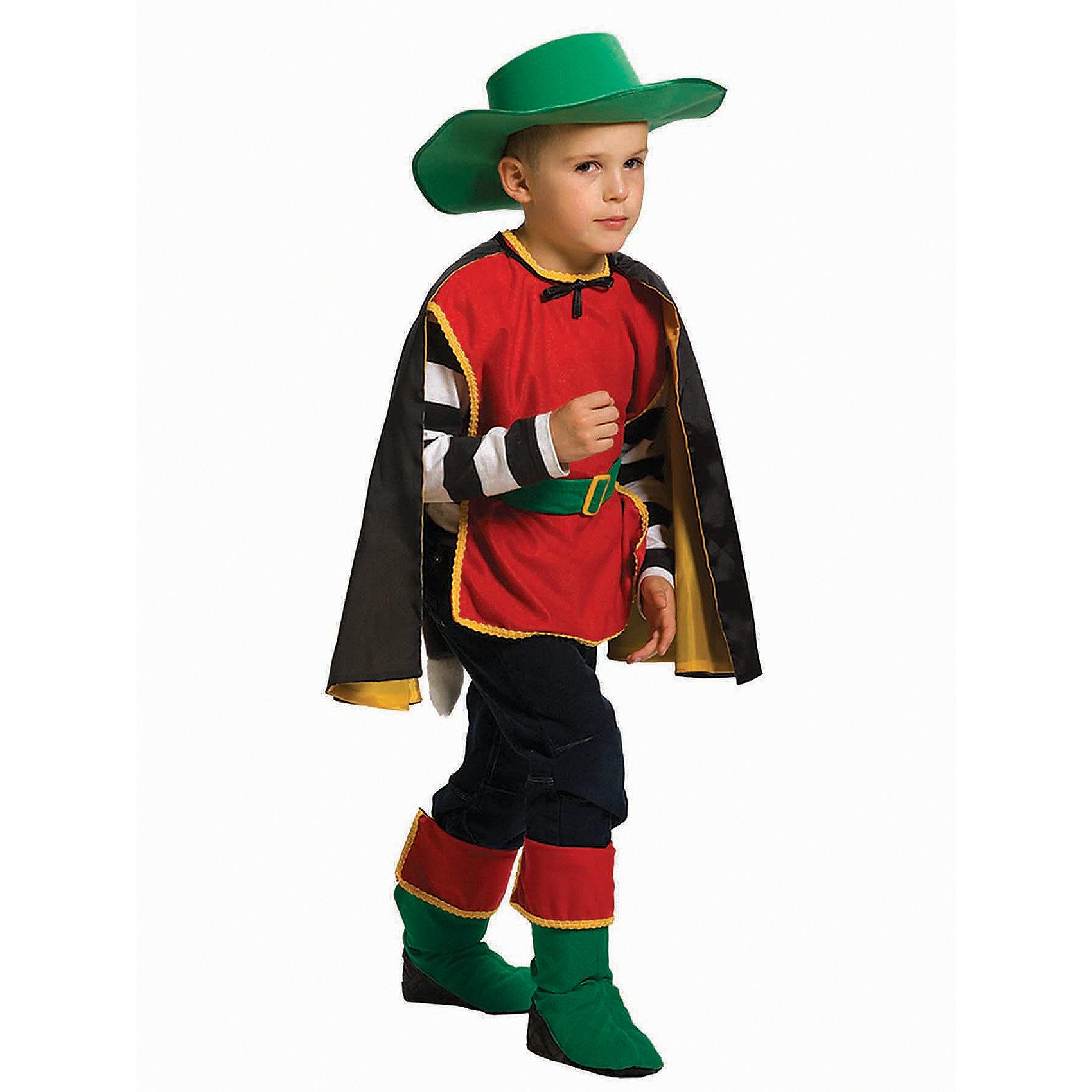Карнавальный костюм для мальчика Кот в сапогах, ВестификаКарнавальные костюмы и аксессуары<br>Карнавальный костюм Кот в сапогах выполнен из велюра нескольких цветов. Костюм состоит из жилета, отороченного яркой тесьмой, пояса с хвостом, двухцветного плаща, шляпы и сапог, которые одеваются поверх обуви. Отвороты сапог уплотнены. Плащ фиксируется лентой на шее. Пояс снабжен липучкой. Рекомендуем дополнить костюм белой или черной майкой, брюками, обувью в цвет костюма.<br><br>Дополнительная информация:<br><br>Комплектация:<br>Плащ из тафеты <br>Шляпа  (в размере 98/110 цвет шляпы КРАСНЫЙ)<br>Жилетка из велюра<br>Пояс с хвостом из искусственного меха<br>Сапоги<br>Ткани:<br>Тафета (100% полиэстер)<br>Велюр (80% хлопок, 20% полиэстер)<br>Искусственный мех (100% полиэстер)<br><br>Карнавальный костюм для мальчика Кот в сапогах, Вестифика можно купить в нашем магазине.<br><br>Ширина мм: 236<br>Глубина мм: 16<br>Высота мм: 184<br>Вес г: 510<br>Цвет: разноцветный<br>Возраст от месяцев: 36<br>Возраст до месяцев: 60<br>Пол: Мужской<br>Возраст: Детский<br>Размер: 98/110,116/122<br>SKU: 4389236