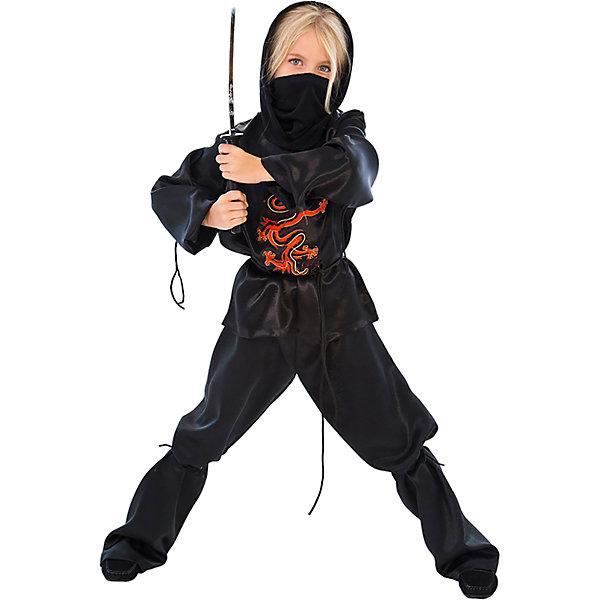 Карнавальный костюм для мальчика Ниндзя, ВестификаКарнавальные костюмы для девочек<br>Карнавальный костюм Ниндзя создан нашими художниками для настоящих бойцов - знатоков и поклонников восточный культуры и боевых искусств. Костюм Ниндзя состоит из рубашки с капюшоном, широких прямых брюк и банданы. Рубашка и брюки выполнены из крепсатина, бандана - из хлопчатобумажного трикотажа. От колена до лодыжки брюки фиксируются шнурком, пришитым в области колена, по талии пропущена резинка. На рубашку нанесена аппликация, разработанная нашими дизайнерами. Рекомендуем дополнить карнавальный костюм Ниндзя темными ботинками или кроссовками. Костюм Ниндзя идеально подойдет для новогоднего праздника и веселой вечеринки, посвященной Дню Рождения.<br><br>Дополнительная информация:<br><br><br>Рубашка с капюшоном из крепсатина<br>Штаны<br>Пояс<br>Бандана-маска<br>Ткани:<br>Крепсатин (100% полиэстер)<br>Параметры изделия: • Длина внутреннего шва рукава: 32 см • Длина внешнего шва рукава: 37 см • Длина спинки: 43 см • Ширина от плеча до плеча: 44 см • Ширина спинки от подмышки до подмышки: 48 см • Объем талии: 46 см • Длина внутреннего шва брюк: 54 см • Длина внешнего шва брюк: 77 см • Ширина брючины внизу: 19,5 см<br>Карнавальный костюм для мальчика Ниндзя, Вестифика можно купить в нашем магазине.<br>Ширина мм: 236; Глубина мм: 16; Высота мм: 184; Вес г: 340; Возраст от месяцев: 72; Возраст до месяцев: 84; Пол: Мужской; Возраст: Детский; Размер: 116/122,128/134; SKU: 4389239;