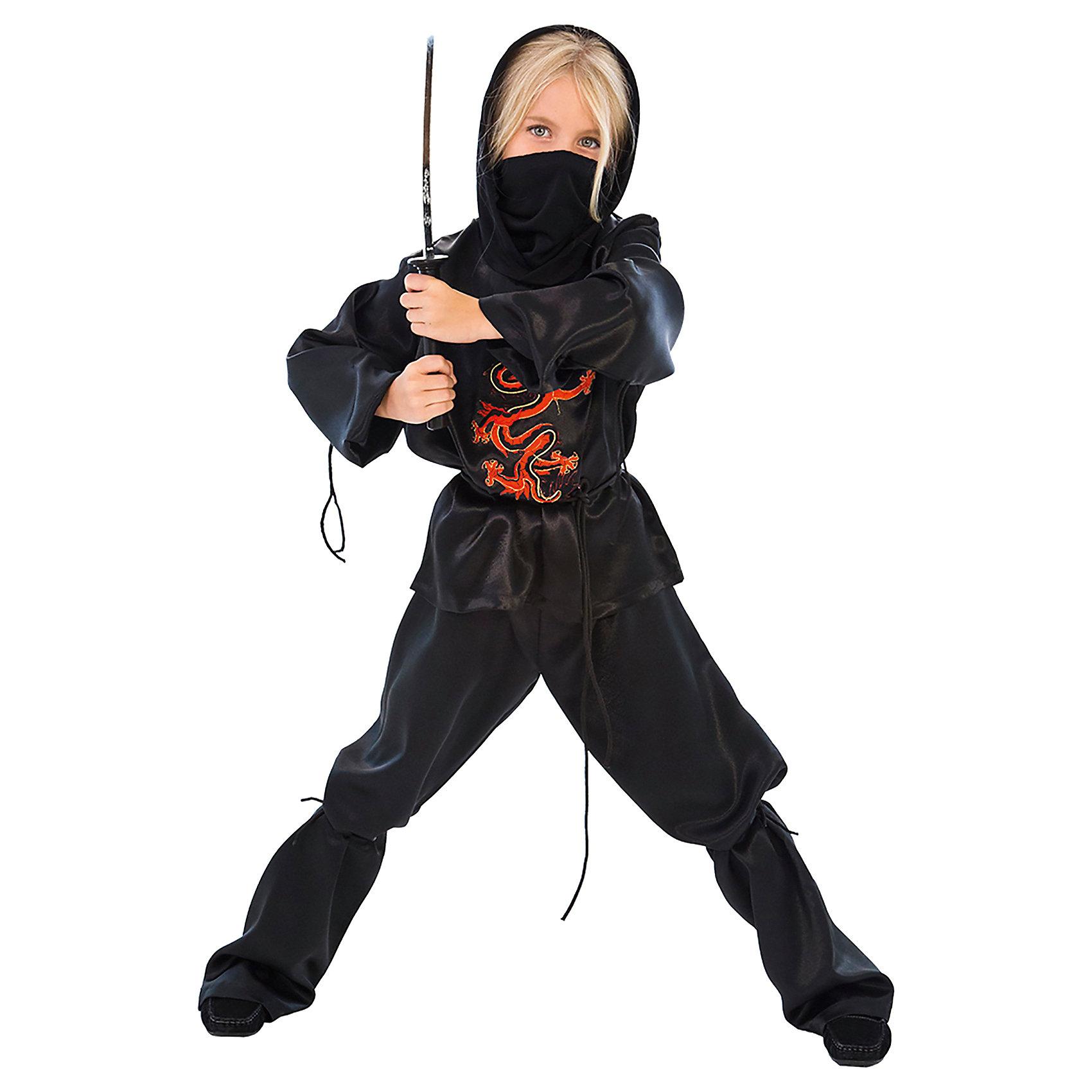 Карнавальный костюм для мальчика Ниндзя, ВестификаКарнавальный костюм Ниндзя создан нашими художниками для настоящих бойцов - знатоков и поклонников восточный культуры и боевых искусств. Костюм Ниндзя состоит из рубашки с капюшоном, широких прямых брюк и банданы. Рубашка и брюки выполнены из крепсатина, бандана - из хлопчатобумажного трикотажа. От колена до лодыжки брюки фиксируются шнурком, пришитым в области колена, по талии пропущена резинка. На рубашку нанесена аппликация, разработанная нашими дизайнерами. Рекомендуем дополнить карнавальный костюм Ниндзя темными ботинками или кроссовками. Костюм Ниндзя идеально подойдет для новогоднего праздника и веселой вечеринки, посвященной Дню Рождения.<br><br>Дополнительная информация:<br><br><br>Рубашка с капюшоном из крепсатина<br>Штаны<br>Пояс<br>Бандана-маска<br>Ткани:<br>Крепсатин (100% полиэстер)<br><br>Карнавальный костюм для мальчика Ниндзя, Вестифика можно купить в нашем магазине.<br><br>Ширина мм: 236<br>Глубина мм: 16<br>Высота мм: 184<br>Вес г: 340<br>Цвет: разноцветный<br>Возраст от месяцев: 72<br>Возраст до месяцев: 84<br>Пол: Мужской<br>Возраст: Детский<br>Размер: 116/122,128/134<br>SKU: 4389239