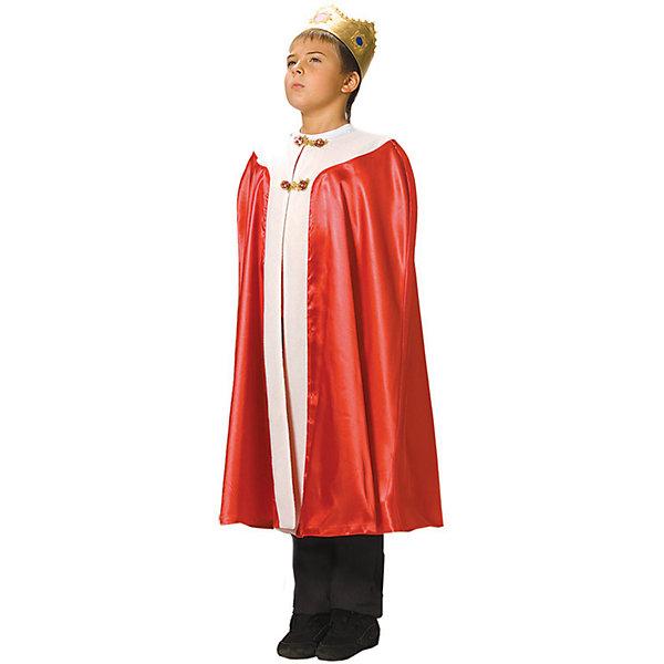 Карнавальный костюм для мальчика Король, ВестификаКарнавальные костюмы для мальчиков<br>Карнавальный костюм Король - один из самых популярных и любимых детьми костюмов. Он выполнен из красного крепсатина, украшен белым флисом, имитирующим мех. Корона сшита из стрейч-парчи, благодаря чему удобно садится на голову. Плащ-мантия посажен на подкладку. Сверху на горловине мантия фиксируется красивой пуговицей.<br><br>Дополнительная информация:<br><br>Комплектация:<br>Мантия красная<br>Корона из стрейч-парчи<br>Ткани:<br>Крепсатин (100% полиэстер)<br>Стрейч-парча (95% полиэстер, 5% эластан)<br>Флис (100% полиэстер)<br><br>Карнавальный костюм для мальчика Король, Вестифика можно купить в нашем магазине.<br><br>Ширина мм: 236<br>Глубина мм: 16<br>Высота мм: 184<br>Вес г: 310<br>Цвет: белый<br>Возраст от месяцев: 84<br>Возраст до месяцев: 120<br>Пол: Мужской<br>Возраст: Детский<br>Размер: 122/140<br>SKU: 4389245