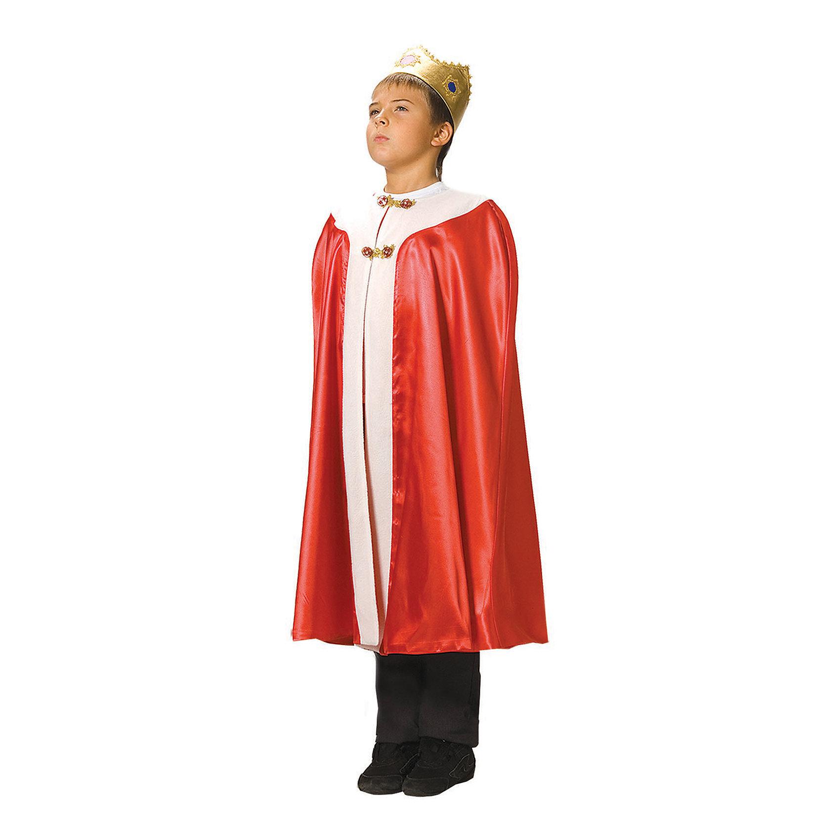 Карнавальный костюм для мальчика Король, ВестификаКарнавальный костюм Король - один из самых популярных и любимых детьми костюмов. Он выполнен из красного крепсатина, украшен белым флисом, имитирующим мех. Корона сшита из стрейч-парчи, благодаря чему удобно садится на голову. Плащ-мантия посажен на подкладку. Сверху на горловине мантия фиксируется красивой пуговицей.<br><br>Дополнительная информация:<br><br>Комплектация:<br>Мантия красная<br>Корона из стрейч-парчи<br>Ткани:<br>Крепсатин (100% полиэстер)<br>Стрейч-парча (95% полиэстер, 5% эластан)<br>Флис (100% полиэстер)<br><br>Карнавальный костюм для мальчика Король, Вестифика можно купить в нашем магазине.<br><br>Ширина мм: 236<br>Глубина мм: 16<br>Высота мм: 184<br>Вес г: 310<br>Цвет: разноцветный<br>Возраст от месяцев: 84<br>Возраст до месяцев: 120<br>Пол: Мужской<br>Возраст: Детский<br>Размер: 122/140<br>SKU: 4389245