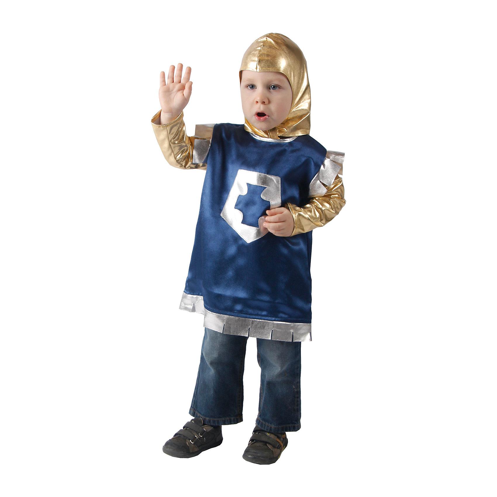Карнавальный костюм для мальчика Рыцарь, ВестификаКарнавальные костюмы<br>Детский карнавальный костюм Рыцарь выполнен частично из очень мягкого материала- стрейч-парчи. Именно поэтому его так любят мамы и малыши - шлем не сковывает движения. Рубашка украшена аппликацией из парчи. Допустимы отклонения по цвету ткани, макету аппликации.<br><br>Дополнительная информация:<br><br>Комплектация:<br>Рубашка из крепсатина<br>Шлем из стрейч-парчи<br>Ткани:<br>Крепсатин (100% полиэстер)<br>Стрейч-парча (95% полиэстер, 5% эластан)<br><br>Карнавальный костюм для мальчика Рыцарь, Вестифика можно купить в нашем магазине.<br><br>Ширина мм: 236<br>Глубина мм: 16<br>Высота мм: 184<br>Вес г: 150<br>Цвет: разноцветный<br>Возраст от месяцев: 36<br>Возраст до месяцев: 60<br>Пол: Мужской<br>Возраст: Детский<br>Размер: 98/110<br>SKU: 4389247