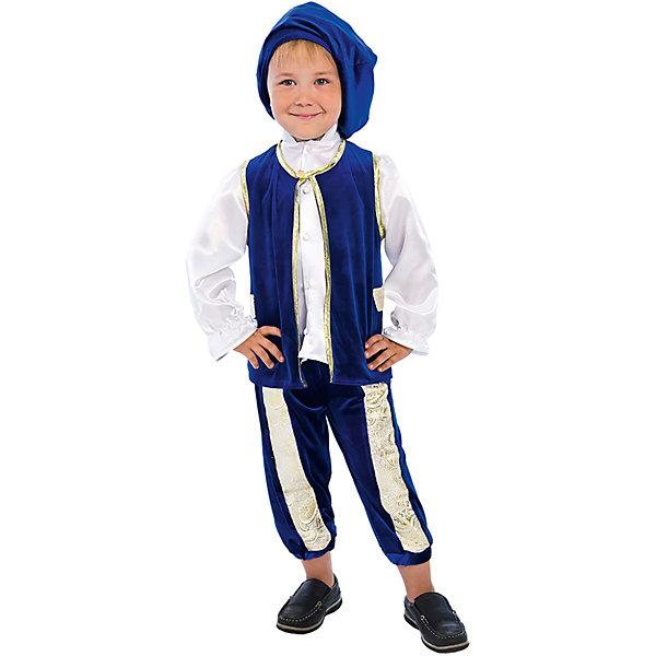 Карнавальный костюм для мальчика Принц Люкс, ВестификаКарнавальные костюмы для мальчиков<br>Самый романтичный герой всех времен и народов - принц из сказки Золушка лег в основу карнавального костюма «Принц». Богатое мерцание бархата, роскошный блеск парчи играют и переливаются в каждой складке изделия. Насыщенный и глубокий синий цвет жилета и бридж выгодно контрастирует с лоском белой атласной рубашки с высоким воротом и оборками на рукавах. Жилет фиксируется на шее золотым бантиком. Полочки жилета украшены лацканами из парчи и отделаны золотой каймой. Благодаря вставкам из настоящей золотой парчи бриджи имеют оригинальную геометрию. Длина бридж может регулироваться по желанию резинкой, вставленной по низу изделия. Дополняет комплект широкий бархатный берет. Благодаря тому, что карнавальный костюм «Принц» выполнен из высококачественного стрейч-бархата, его очень комфортно носить. Настоящий костюм, достойный двора Его Королевского Величества! Рекомендуем дополнить комплект белыми носочками или гольфами и синими или белыми ботинками.<br><br>Дополнительная информация:<br><br>Комплектация:<br>Жилет из стрейч-бархата с лацканами из парчи <br>Бриджи из стрейч-бархата со вставками из парчи <br>Берет из стрейч-бархата<br>Ткани:<br>Стрейч-бархат (95% полиэстер, 5% эластан)<br>Крепсатин (100% полиэстер)<br>Парча (100% полиэстер)<br><br>Карнавальный костюм для мальчика Принц Люкс, Вестифика можно купить в нашем магазине.<br>Ширина мм: 236; Глубина мм: 16; Высота мм: 184; Вес г: 340; Возраст от месяцев: 36; Возраст до месяцев: 60; Пол: Мужской; Возраст: Детский; Размер: 98/104,110/116; SKU: 4389249;