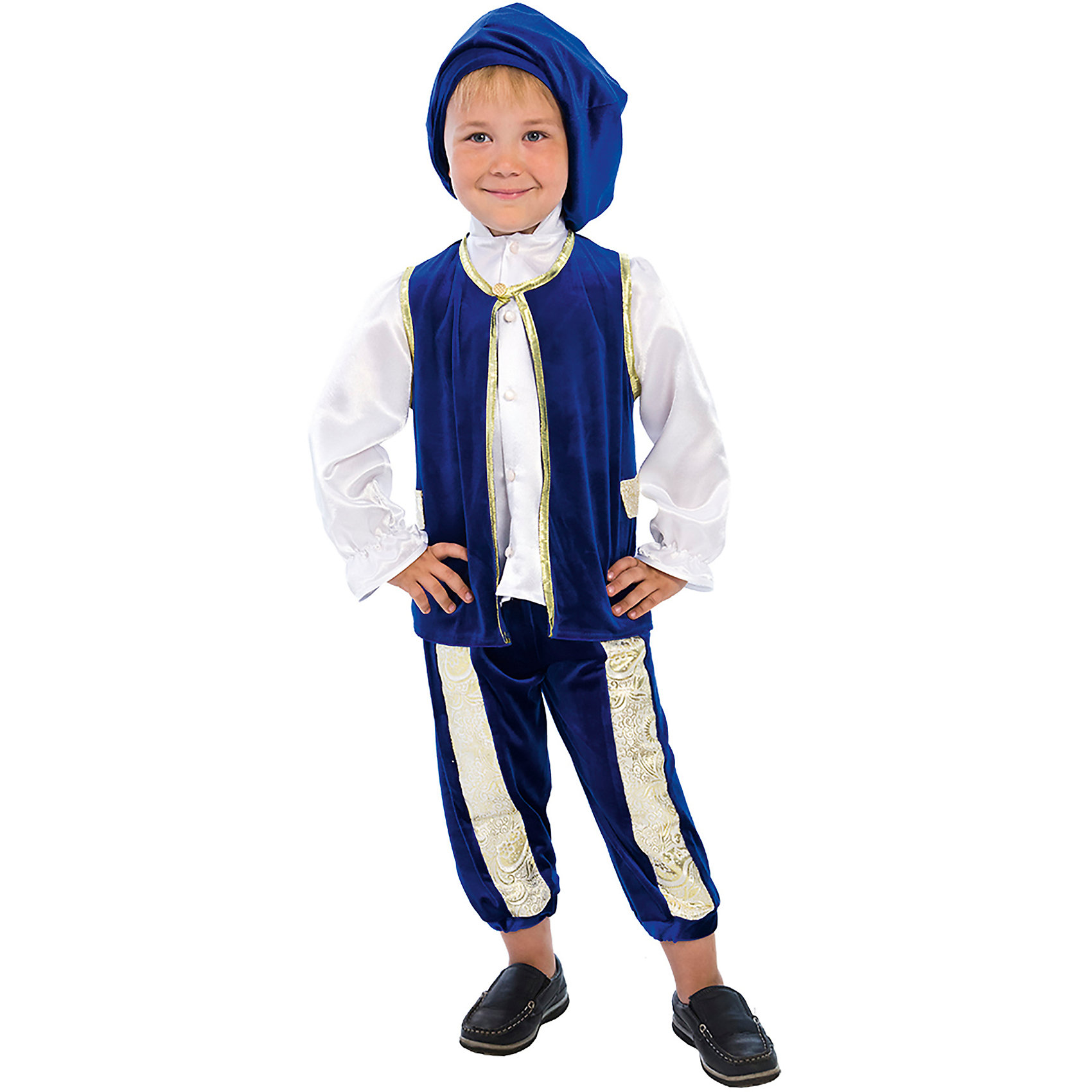 Карнавальный костюм для мальчика Принц Люкс, ВестификаКарнавальные костюмы и аксессуары<br>Самый романтичный герой всех времен и народов - принц из сказки Золушка лег в основу карнавального костюма «Принц». Богатое мерцание бархата, роскошный блеск парчи играют и переливаются в каждой складке изделия. Насыщенный и глубокий синий цвет жилета и бридж выгодно контрастирует с лоском белой атласной рубашки с высоким воротом и оборками на рукавах. Жилет фиксируется на шее золотым бантиком. Полочки жилета украшены лацканами из парчи и отделаны золотой каймой. Благодаря вставкам из настоящей золотой парчи бриджи имеют оригинальную геометрию. Длина бридж может регулироваться по желанию резинкой, вставленной по низу изделия. Дополняет комплект широкий бархатный берет. Благодаря тому, что карнавальный костюм «Принц» выполнен из высококачественного стрейч-бархата, его очень комфортно носить. Настоящий костюм, достойный двора Его Королевского Величества! Рекомендуем дополнить комплект белыми носочками или гольфами и синими или белыми ботинками.<br><br>Дополнительная информация:<br><br>Комплектация:<br>Жилет из стрейч-бархата с лацканами из парчи <br>Бриджи из стрейч-бархата со вставками из парчи <br>Берет из стрейч-бархата<br>Ткани:<br>Стрейч-бархат (95% полиэстер, 5% эластан)<br>Крепсатин (100% полиэстер)<br>Парча (100% полиэстер)<br><br>Карнавальный костюм для мальчика Принц Люкс, Вестифика можно купить в нашем магазине.<br><br>Ширина мм: 236<br>Глубина мм: 16<br>Высота мм: 184<br>Вес г: 340<br>Цвет: белый<br>Возраст от месяцев: 36<br>Возраст до месяцев: 60<br>Пол: Мужской<br>Возраст: Детский<br>Размер: 98/104,110/116<br>SKU: 4389249