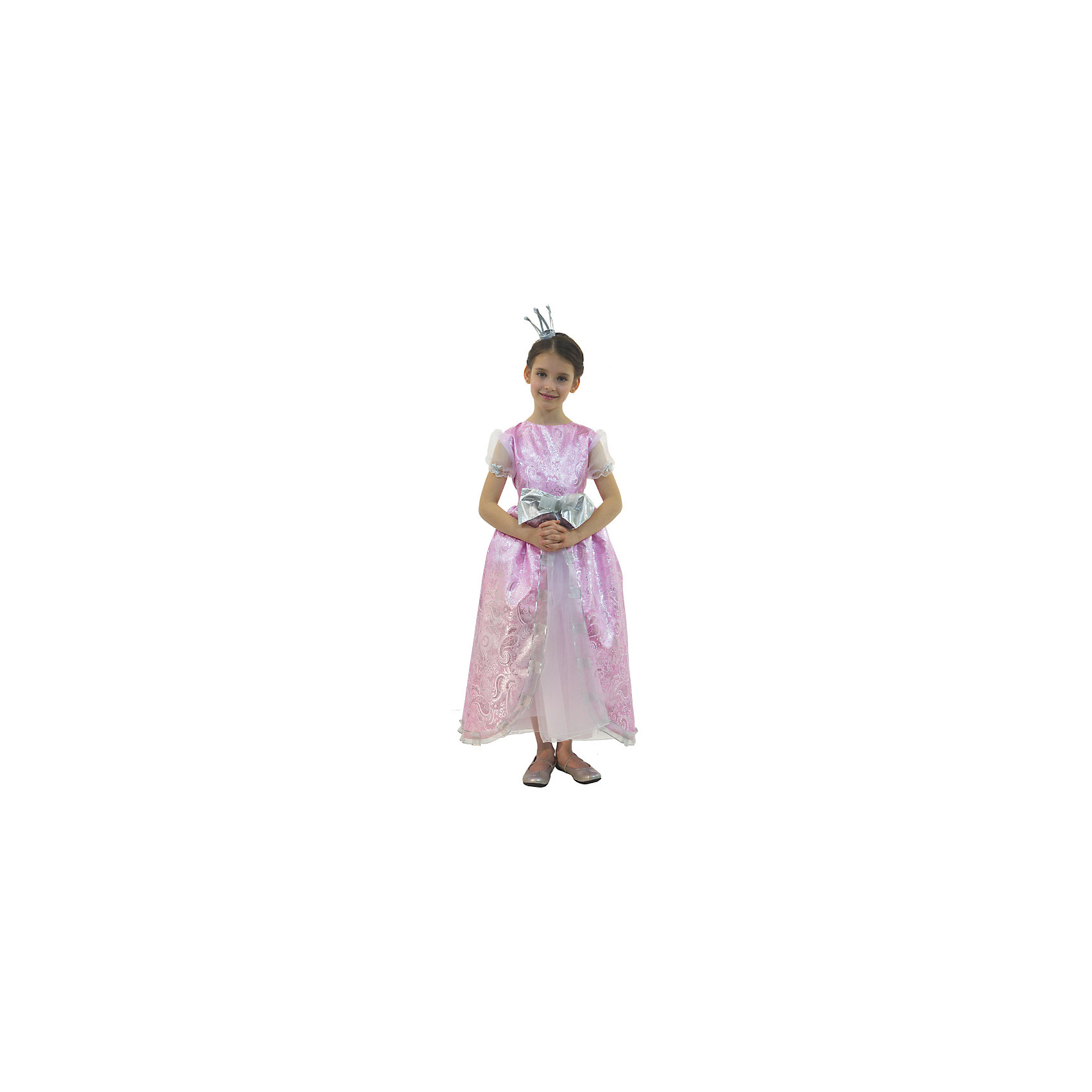 Карнавальный костюм для девочки Принцесса Розовая Люкс, ВестификаКарнавальные костюмы и аксессуары<br>Каждая девочка мечтает почувствовать себя настоящей принцессой и поехать на бал в самом красивом платье на свете. Эта мечта становится реальностью, как только девочка примеряет карнавальный костюм Принцесса Люкс. Костюм выполнен из настоящей розовой парчи с золотой нитью. Многочисленные нижние юбки из тафеты и органзы придают объем шикарному бальному платью. Маленькая корона фиксируется на волосах невидимками.<br><br>Дополнительная информация:<br><br>Комплектация:<br>Платье из парчи и органзы<br>Корона<br>Ткани:<br>Парча (100% полиэстер)<br>Органза (100% полиэстер)<br>Тафета (100% полиэстер)<br><br>Карнавальный костюм для девочки Принцесса Розовая Люкс, Вестифика можно купить в нашем магазине.<br><br>Ширина мм: 236<br>Глубина мм: 16<br>Высота мм: 184<br>Вес г: 360<br>Цвет: разноцветный<br>Возраст от месяцев: 48<br>Возраст до месяцев: 60<br>Пол: Женский<br>Возраст: Детский<br>Размер: 104/110,128/134,116/122<br>SKU: 4389252