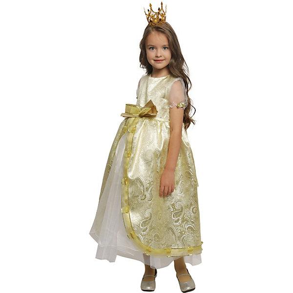 Карнавальный костюм для девочки Принцесса Люкс, ВестификаКарнавальные костюмы для девочек<br>Каждая девочка мечтает почувствовать себя настоящей принцессой и поехать на бал в самом красивом платье на свете. Эта мечта становится реальностью, как только девочка примеряет карнавальный костюм Принцесса Люкс. Костюм выполнен из светлой парчи с золотой нитью. Многочисленные нижние юбки из тафеты и органзы придают объем шикарному бальному платью. Маленькая корона фиксируется на волосах невидимками.<br><br>Дополнительная информация:<br><br>Комплектация:<br>Платье из парчи и  органзы<br>Корона<br>Ткани:<br>Парча (100% полиэстер)<br>Органза (100% полиэстер)<br>Тафета (100% полиэстер)<br><br><br>Карнавальный костюм для девочки Принцесса Люкс, Вестифика можно купить в нашем магазине.<br><br>Ширина мм: 236<br>Глубина мм: 16<br>Высота мм: 184<br>Вес г: 360<br>Возраст от месяцев: 48<br>Возраст до месяцев: 60<br>Пол: Женский<br>Возраст: Детский<br>Размер: 104/110,116/122<br>SKU: 4389256