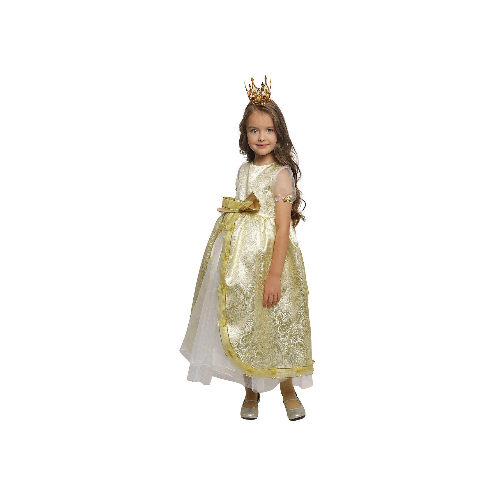 Карнавальный костюм для девочки Принцесса Люкс, ВестификаКарнавальные костюмы и аксессуары<br>Каждая девочка мечтает почувствовать себя настоящей принцессой и поехать на бал в самом красивом платье на свете. Эта мечта становится реальностью, как только девочка примеряет карнавальный костюм Принцесса Люкс. Костюм выполнен из светлой парчи с золотой нитью. Многочисленные нижние юбки из тафеты и органзы придают объем шикарному бальному платью. Маленькая корона фиксируется на волосах невидимками.<br><br>Дополнительная информация:<br><br>Комплектация:<br>Платье из парчи и  органзы<br>Корона<br>Ткани:<br>Парча (100% полиэстер)<br>Органза (100% полиэстер)<br>Тафета (100% полиэстер)<br><br><br>Карнавальный костюм для девочки Принцесса Люкс, Вестифика можно купить в нашем магазине.<br><br>Ширина мм: 236<br>Глубина мм: 16<br>Высота мм: 184<br>Вес г: 360<br>Цвет: разноцветный<br>Возраст от месяцев: 48<br>Возраст до месяцев: 60<br>Пол: Женский<br>Возраст: Детский<br>Размер: 104/110,116/122<br>SKU: 4389256
