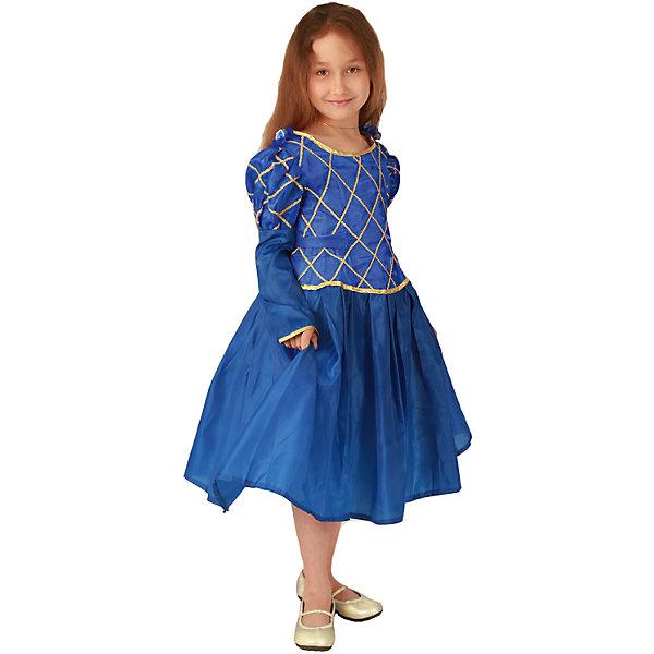 Карнавальный костюм для девочки Принцесса (синий цвет), ВестификаКарнавальные костюмы для девочек<br>Карнавальный костюм Принцесса предназначен для самых красивых и самых капризных маленьких принцесс. Костюм состоит из красивого пышного бального платья и подъюбника с несколькими слоями фатина, который создает пышность и придает юбке дополнительный объем. Ворот и рукава оторочены золотой бейкой, само платье украшено золотой тесьмой. По ширине платье регулируется поясом, который можно завязать на спине в красивый бант. Платье застегивается на спине на липучки<br><br>Дополнительная информация:<br><br>Комплектация:<br>Платье из тафеты<br>Подъюбник из бязи и фатина<br>Ткани:<br>Тафета (100% полиэстер)<br>Фатин (100% полиэстер)<br>Бязь (100% хлопок)<br><br>Карнавальный костюм для девочки Принцесса (синий цвет), Вестифика можно купить в нашем магазине.<br><br>Ширина мм: 236<br>Глубина мм: 16<br>Высота мм: 184<br>Вес г: 340<br>Возраст от месяцев: 72<br>Возраст до месяцев: 84<br>Пол: Женский<br>Возраст: Детский<br>Размер: 116/122<br>SKU: 4389259