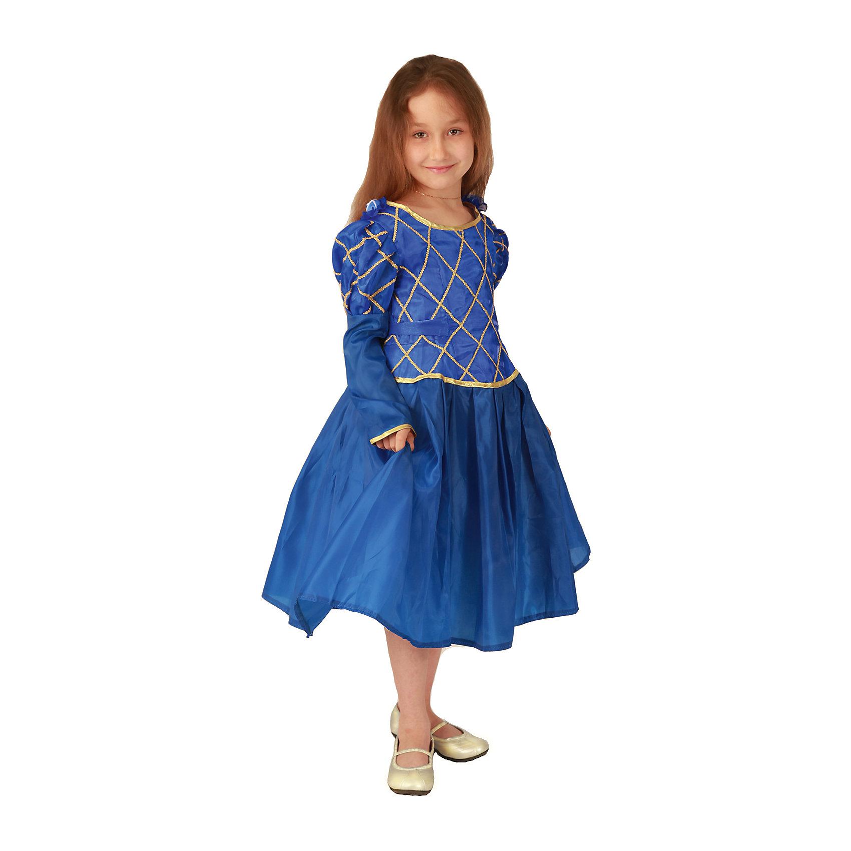 Карнавальный костюм для девочки Принцесса (синий цвет), ВестификаКарнавальные костюмы для девочек<br>Карнавальный костюм Принцесса предназначен для самых красивых и самых капризных маленьких принцесс. Костюм состоит из красивого пышного бального платья и подъюбника с несколькими слоями фатина, который создает пышность и придает юбке дополнительный объем. Ворот и рукава оторочены золотой бейкой, само платье украшено золотой тесьмой. По ширине платье регулируется поясом, который можно завязать на спине в красивый бант. Платье застегивается на спине на липучки<br><br>Дополнительная информация:<br><br>Комплектация:<br>Платье из тафеты<br>Подъюбник из бязи и фатина<br>Ткани:<br>Тафета (100% полиэстер)<br>Фатин (100% полиэстер)<br>Бязь (100% хлопок)<br><br>Карнавальный костюм для девочки Принцесса (синий цвет), Вестифика можно купить в нашем магазине.<br><br>Ширина мм: 236<br>Глубина мм: 16<br>Высота мм: 184<br>Вес г: 340<br>Цвет: белый<br>Возраст от месяцев: 72<br>Возраст до месяцев: 84<br>Пол: Женский<br>Возраст: Детский<br>Размер: 116/122<br>SKU: 4389259