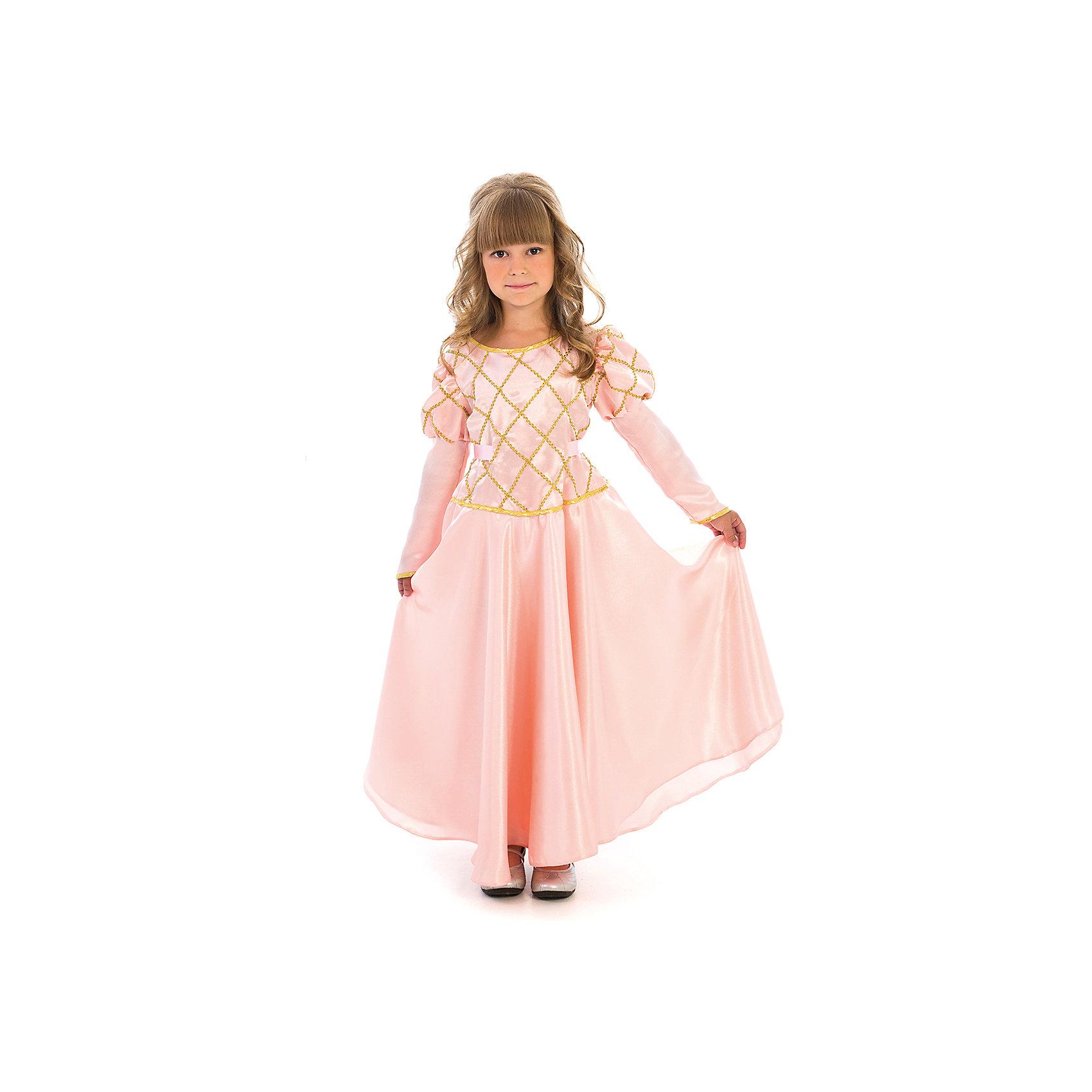 Карнавальный костюм для девочки Принцесса (чайная роза), ВестификаКарнавальный костюм Принцесса предназначен для самых красивых и самых капризных маленьких принцесс. Костюм состоит из красивого пышного бального платья и подъюбника с несколькими слоями фатина, который создает пышность и придает юбке дополнительный объем. Ворот и рукава оторочены золотой бейкой, само платье украшено золотой тесьмой. По ширине платье регулируется поясом, который можно завязать на спине в красивый бант. Платье застегивается на спине на липучки.<br><br>Дополнительная информация:<br><br>Комплектация:<br>Платье из тафеты<br>Подъюбник из бязи и фатина<br>Ткани:<br>Крепсатин (100% полиэстер)<br>Фатин (100% полиэстер)<br>Бязь (100% хлопок)<br><br>Карнавальный костюм для девочки Принцесса (чайная роза), Вестифика можно купить в нашем магазине.<br><br>Ширина мм: 236<br>Глубина мм: 16<br>Высота мм: 184<br>Вес г: 340<br>Цвет: разноцветный<br>Возраст от месяцев: 72<br>Возраст до месяцев: 84<br>Пол: Женский<br>Возраст: Детский<br>Размер: 116/122<br>SKU: 4389261