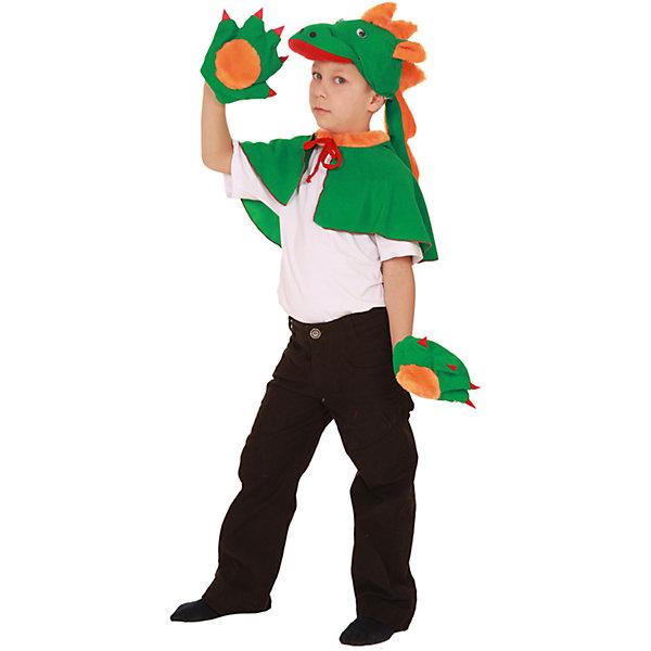 Карнавальный костюм для мальчика Дракон, ВестификаКарнавальные костюмы для мальчиков<br>Детский карнавальный костюм Дракон очень любят мальчики. Дракон сильный, смелый, он все может. Именно такими и хотят быть малыши. Именно такую роль помогает им играть наш карнавальный костюм Дракон. Костюм состоит из накидки-пелерины, шапочки-маски и варежек.<br><br>Дополнительная информация:<br><br>Комплектация:<br>Накидка-пелерина<br>Шапка-маска<br>Варежки<br>Ткани:<br>Искусственная замша (100% полиэстер)<br><br>Карнавальный костюм для мальчика Дракон, Вестифика можно купить в нашем магазине.<br><br>Ширина мм: 236<br>Глубина мм: 16<br>Высота мм: 184<br>Вес г: 100<br>Возраст от месяцев: 60<br>Возраст до месяцев: 84<br>Пол: Мужской<br>Возраст: Детский<br>Размер: 98/116<br>SKU: 4389272