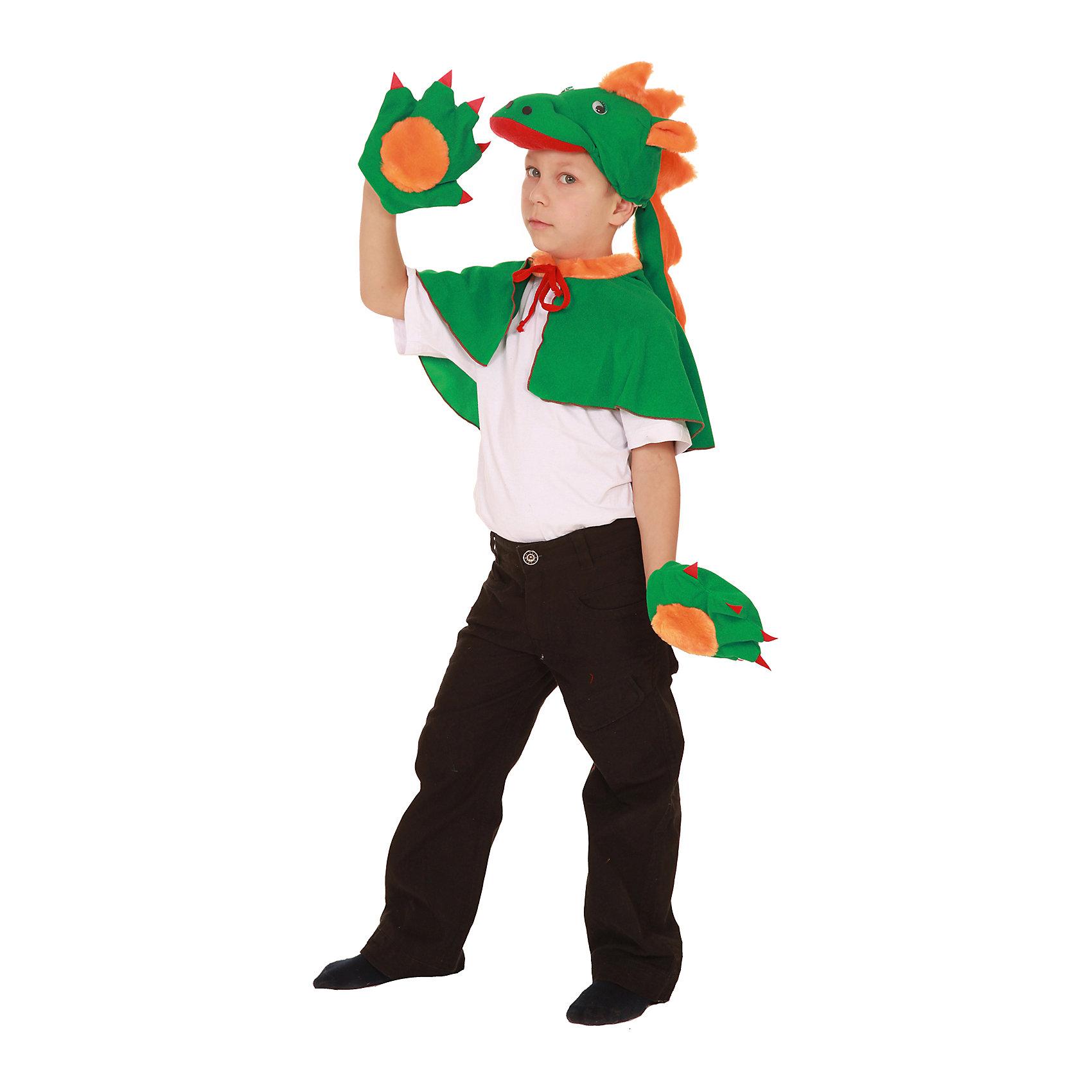 Карнавальный костюм для мальчика Дракон, ВестификаКарнавальные костюмы и аксессуары<br>Детский карнавальный костюм Дракон очень любят мальчики. Дракон сильный, смелый, он все может. Именно такими и хотят быть малыши. Именно такую роль помогает им играть наш карнавальный костюм Дракон. Костюм состоит из накидки-пелерины, шапочки-маски и варежек.<br><br>Дополнительная информация:<br><br>Комплектация:<br>Накидка-пелерина<br>Шапка-маска<br>Варежки<br>Ткани:<br>Искусственная замша (100% полиэстер)<br><br>Карнавальный костюм для мальчика Дракон, Вестифика можно купить в нашем магазине.<br><br>Ширина мм: 236<br>Глубина мм: 16<br>Высота мм: 184<br>Вес г: 100<br>Цвет: разноцветный<br>Возраст от месяцев: 60<br>Возраст до месяцев: 84<br>Пол: Мужской<br>Возраст: Детский<br>Размер: 98/116<br>SKU: 4389272