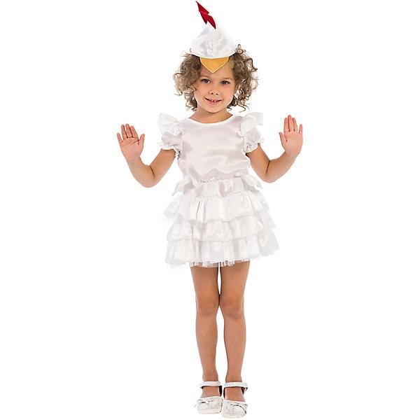Карнавальный костюм для девочки Курочка, ВестификаКарнавальные костюмы для девочек<br>Курочки и Петушки постоянные герои утренников в детском саду. Они всегда узнаваемы детьми, их любят рисовать, в них любят наряжаться. Именно поэтому мы придумали наш карнавальный костюм «Курочка». Он очень нежный и воздушный. Коротенькое белое платьице с классическими рукавами-крылышками и большим количеством оборок дополнено шапочкой с клювиком и гребешком, которая регулируется по ширине резиночкой. Сзади в области горловины платье завязывается на бантик, а в районе талии пришит задорный хвостик. Дополнительную пышность платью придает подъюбник из фатина. По ширине изделие регулируется резинкой, вшитой в области талии. Гребешок на шапочке дублирован клеевой. Таким образом создается образ курочки-хохлушки - веселой хохотушки. Рекомендуем дополнить комплект белыми носочками и туфлями.<br><br>Дополнительная информация:<br><br>Комплектация:<br>Платье из крепсатина и фатина Шапочка из крепсатина<br>Ткани:<br>Крепсатин (100% полиэстер)<br>Фатин (100% полиэстер)<br><br>Карнавальный костюм для девочки Курочка, Вестифика можно купить в нашем магазине.<br>Ширина мм: 236; Глубина мм: 16; Высота мм: 184; Вес г: 150; Возраст от месяцев: 36; Возраст до месяцев: 60; Пол: Женский; Возраст: Детский; Размер: 98/110,116/122; SKU: 4389274;