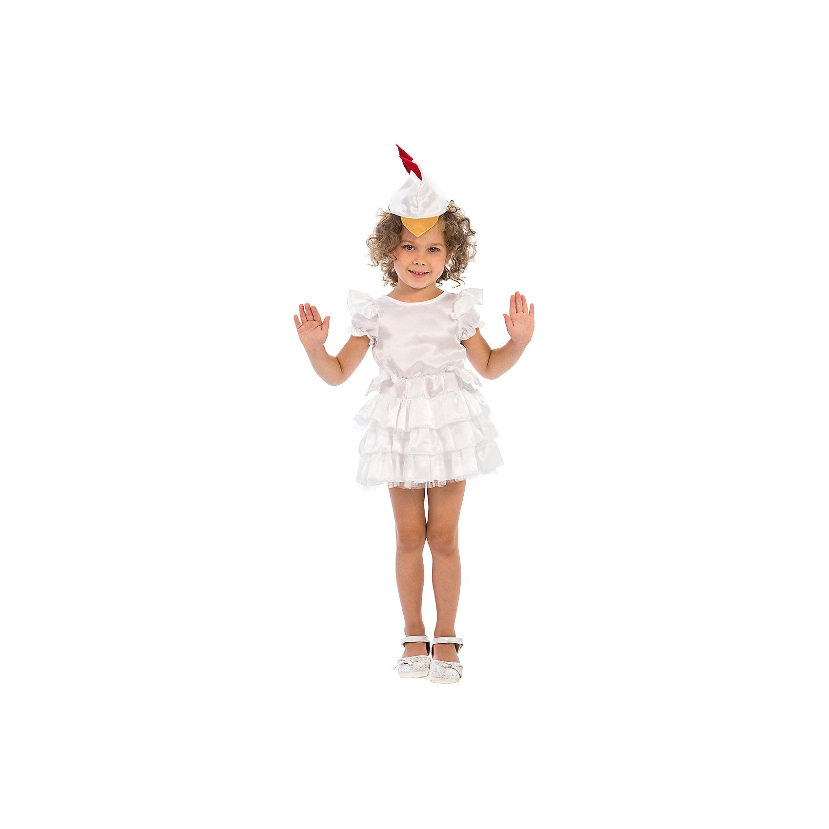 Карнавальный костюм для девочки Курочка, ВестификаКарнавальные костюмы и аксессуары<br>Курочки и Петушки постоянные герои утренников в детском саду. Они всегда узнаваемы детьми, их любят рисовать, в них любят наряжаться. Именно поэтому мы придумали наш карнавальный костюм «Курочка». Он очень нежный и воздушный. Коротенькое белое платьице с классическими рукавами-крылышками и большим количеством оборок дополнено шапочкой с клювиком и гребешком, которая регулируется по ширине резиночкой. Сзади в области горловины платье завязывается на бантик, а в районе талии пришит задорный хвостик. Дополнительную пышность платью придает подъюбник из фатина. По ширине изделие регулируется резинкой, вшитой в области талии. Гребешок на шапочке дублирован клеевой. Таким образом создается образ курочки-хохлушки - веселой хохотушки. Рекомендуем дополнить комплект белыми носочками и туфлями.<br><br>Дополнительная информация:<br><br>Комплектация:<br>Платье из крепсатина и фатина Шапочка из крепсатина<br>Ткани:<br>Крепсатин (100% полиэстер)<br>Фатин (100% полиэстер)<br><br>Карнавальный костюм для девочки Курочка, Вестифика можно купить в нашем магазине.<br><br>Ширина мм: 236<br>Глубина мм: 16<br>Высота мм: 184<br>Вес г: 150<br>Цвет: разноцветный<br>Возраст от месяцев: 36<br>Возраст до месяцев: 60<br>Пол: Женский<br>Возраст: Детский<br>Размер: 98/110,116/122<br>SKU: 4389274