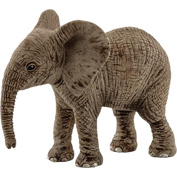 Коллекционная фигурка Schleich Дикие животные Детёныш африканского слонаМир животных<br>Характеристики:<br><br>• возраст: от 3 лет;<br>• материал: каучуковый пластик;<br>• размер игрушки: 6,8х3,5х5,5 см;<br>• вес упаковки: 35 гр.;<br>• размер упаковки: 6,8х3,5х5,5 см;<br>• страна бренда: Германия.<br><br>Фигурка от бренда Schleich – детализированная копия детеныша африканского слона. Фигурка с точностью передает особенности строения тела животного, внешний вид кожи, характерную позу.<br><br>В изготовлении каждой фигурки «Шляйх» учитываются рекомендации педагогики для того, чтобы игрушка была интересна и полезна ребенку, комфортно располагалась в руках. Фигурка раскрашена вручную, сделана из прочных безопасных материалов, не вызывающих аллергию. Разработано при участии Берлинского зоопарка.<br><br>Фигурка подойдет для сюжетно-ролевых игр, а также может стать частью большой коллекции реалистичных копий животных Schleich.<br><br>Фигурку Schleich Детеныш африканского слона можно купить в нашем интернет-магазине.<br>Ширина мм: 97; Глубина мм: 55; Высота мм: 22; Вес г: 33; Возраст от месяцев: 36; Возраст до месяцев: 96; Пол: Унисекс; Возраст: Детский; SKU: 4394592;