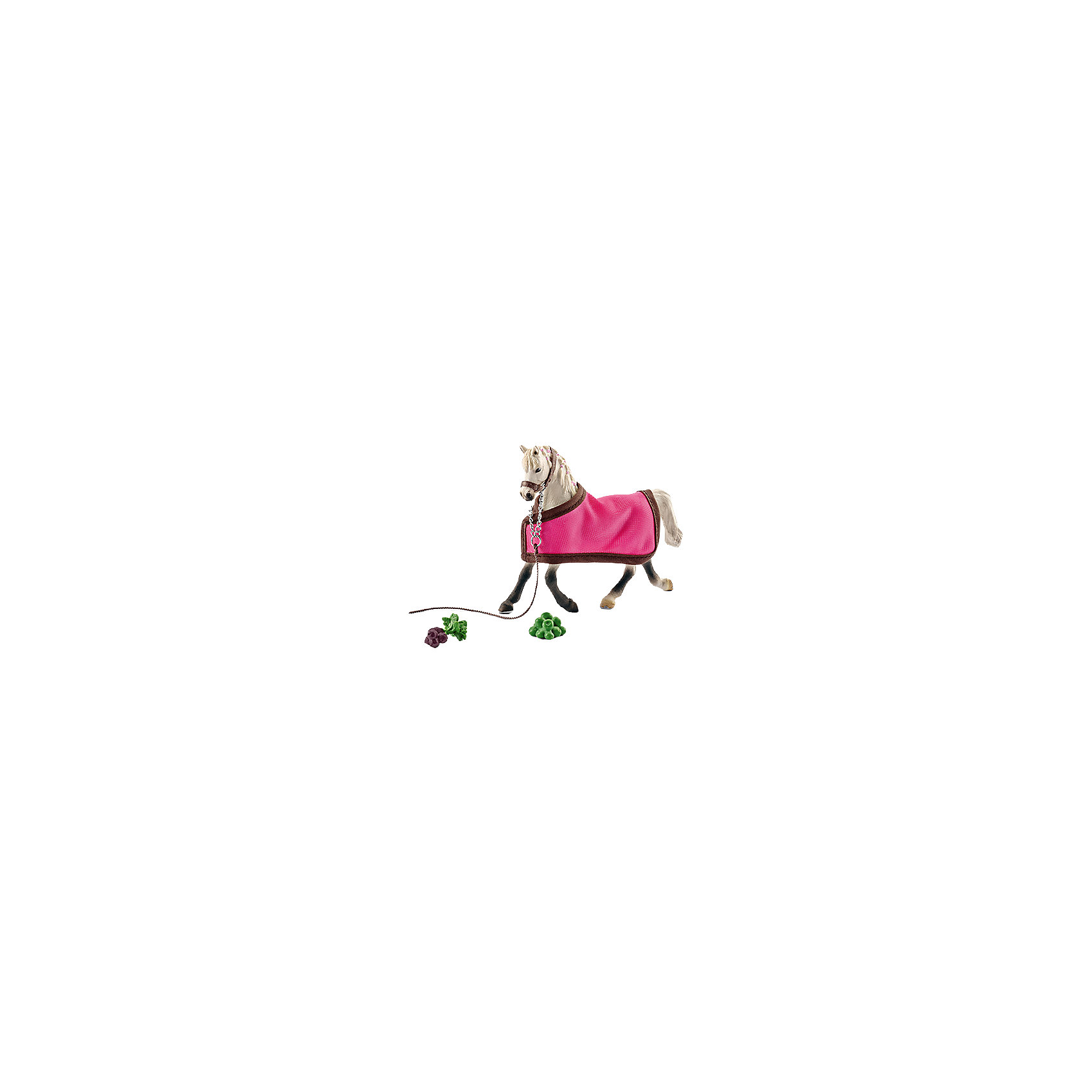 Арабская кобыла с покрывалом, SchleichМир животных<br>Арабская кобыла с накидкой, Schleich (Шляйх) – это высококачественная коллекционная и игровая фигурка.<br><br>Прекрасная фигурка белоснежной Арабской кобылы с накидкой станет прекрасным приобретением для ценителей фигурок лошадей.<br>Порода Арабских лошадей была выведена в Аравии. Порода отличается выносливостью, прекрасно поддается дрессировке. Раньше Арабская лошадь использовалась, прежде всего, как орудие войны. Лучшие боевые кобылы демонстрировали в бою выносливость и, как правило, никогда не продавались, а только могли быть преподнесены в качестве особо ценного подарка. Сейчас эта порода является самой популярной в мире и ежегодно завоевывает большое количество различных мировых наград.<br><br>В комплекте с фигуркой лошади есть яркая розовая накидка и муляжи фруктов и овощей для подкрепления сил перед скачками.<br><br>Прекрасно выполненные фигурки Schleich (Шляйх) являются максимально точной копией настоящих животных и отличаются высочайшим качеством игрушек ручной работы. Каждая фигурка разработана с учетом исследований в области педагогики.<br>Фигурка Арабской кобылы прекрасно разнообразит игру вашего ребенка и станет отличным пополнением коллекции его фигурок животных.<br><br>Все фигурки сделаны из гипоаллергенных высокотехнологичных материалов, раскрашены вручную и не вызывают аллергии у ребенка.<br><br>Дополнительная информация:<br><br>- Размер фигурки: 3x12,4x9,9 см.<br>- Материал: высококачественный каучуковый пластик.<br>- Состав: Фигурка, накидка, муляжи фруктов и овощей.<br><br>Фигурку Арабской лошади с накидкой, Schleich (Шляйх) можно купить в нашем интернет-магазине.<br><br>Ширина мм: 194<br>Глубина мм: 175<br>Высота мм: 55<br>Вес г: 200<br>Возраст от месяцев: 36<br>Возраст до месяцев: 96<br>Пол: Женский<br>Возраст: Детский<br>SKU: 4394635