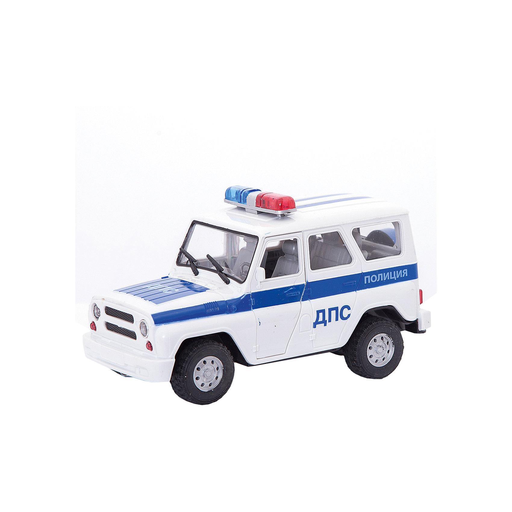 Машинка ДПС, ТЕХНОПАРКМашинки<br>Машинка ДПС, ТЕХНОПАРК - это тщательно проработанная игровая и коллекционная модель.<br>Инерционный автомобиль УАЗ Hunter является маленькой копией полицейской машины, имеет высокую детализацию. У автомобиля открываются двери и багажник, есть световые и звуковые эффекты, имитирующие настоящие: звук полицейской сирены, свет мигалки. Благодаря инерционному механизму, машина легко тронется с места и поедет, если ее поставить на твердую поверхность, отвести немного назад и отпустить. Ваш ребенок будет часами играть с этой машинкой, придумывая различные истории. Порадуйте его таким замечательным подарком!<br><br>Дополнительная информация:<br><br>- Материал: металл, пластик<br>- Работает от батареек<br>- Размер упаковки: 24 x 14 x 11 см.<br>- Вес: 1,6 кг.<br><br>Машинку ДПС, ТЕХНОПАРК можно купить в нашем интернет-магазине.<br><br>Ширина мм: 770<br>Глубина мм: 350<br>Высота мм: 680<br>Вес г: 1600<br>Возраст от месяцев: 36<br>Возраст до месяцев: 144<br>Пол: Мужской<br>Возраст: Детский<br>SKU: 4395909