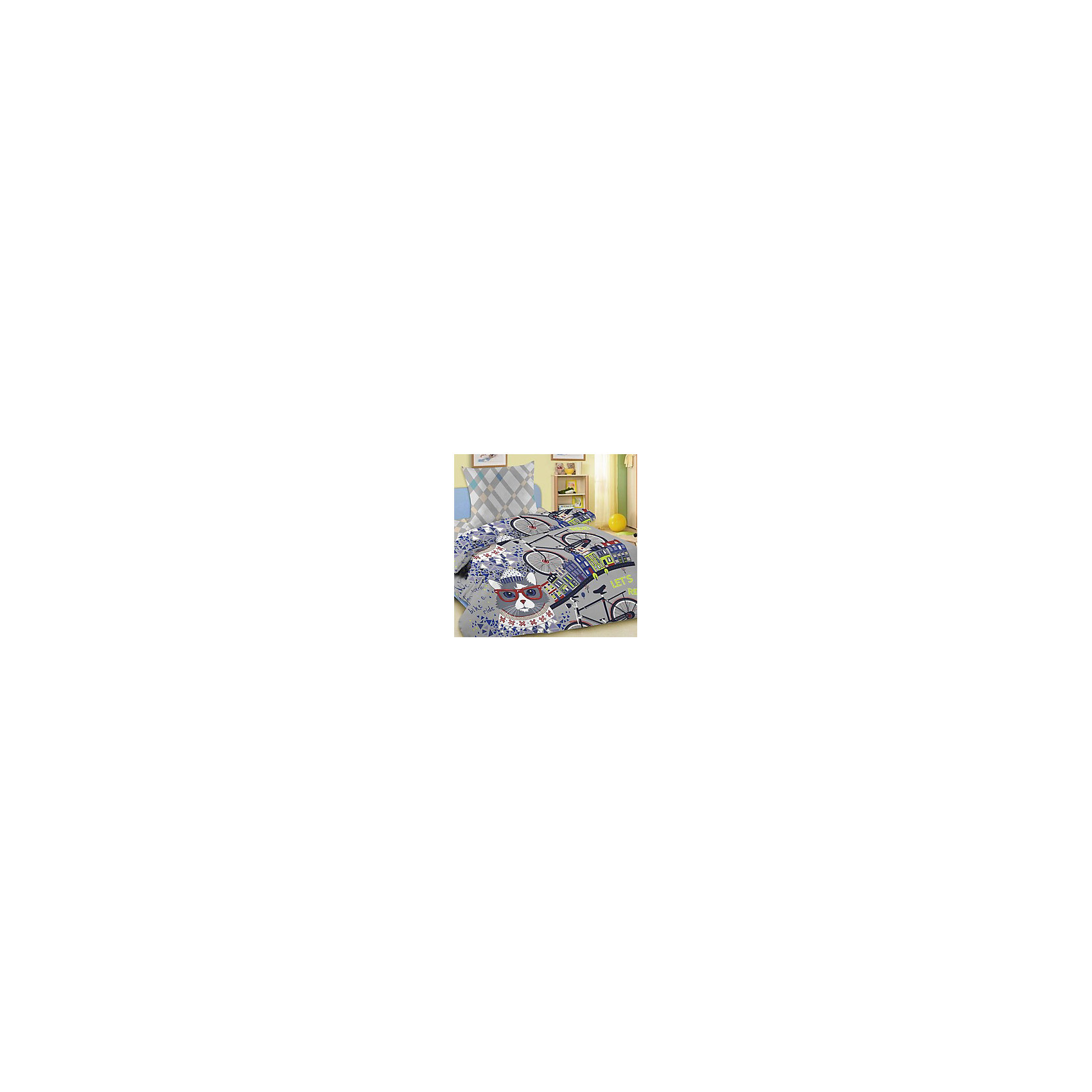 Комплект Велокот 1,5-спальный (наволочка 50*70 см), LettoЭтот комплект постельного белья обязательно понравится вашему ребенку. Красочный дизайн и яркие цветовые решения вызовут у него бурю положительных эмоций. В производстве изделия используются качественные красители, что позволяет сохранять яркость цвета на протяжении всего времени эксплуатации. Ткани не вызывают аллергических реакций, обладают высокой воздухопроницаемостью, гипоаллергенны.<br><br>Дополнительная информация:<br><br>- Комплектация: наволочка (1 шт.), простыня (1 шт.), пододеяльник.(1 шт).<br>- Материал: 100% хлопок.<br>- Размер: наволочка -  50х70 см, простыня - 148х215 см, пододеяльник - 145х215 см.<br>- Цвет: серый, синий, черный.<br>- Декоративные элементы: принт.<br><br>Комплект Велокот 1,5-спальный (наволочка 50*70 см), Letto, можно купить в нашем магазине.<br><br>Ширина мм: 370<br>Глубина мм: 40<br>Высота мм: 280<br>Вес г: 1500<br>Возраст от месяцев: 36<br>Возраст до месяцев: 168<br>Пол: Унисекс<br>Возраст: Детский<br>SKU: 4400435