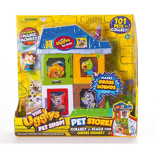 Набор Зоомагазин (2 домика+фигурка), Ugglys Pet ShopИгровые наборы с фигурками<br>Набор Зоомагазин (2 домика+фигурка), Ugglys Pet Shop – это настоящая находка для юной любительницы хулиганских питомцев.<br>Набор Зоомагазин включает домики для ваших «Хулиганских животных», которые можно комбинировать в любом порядке и уникальную фигурку, которую нельзя найти в других наборах этой серии игрушек. Домики оснащены забавными звуковыми эффектами, которые активируются ребёнком, при их нажатии. Много таких домиков можно соединить между собой, соорудив большой зоомагазин.<br><br>Дополнительная информация:<br><br>- В наборе: домик из 4 частей, крыльцо, крыша, уникальная фигурка<br>- Материал: высококачественная пластмасса, прорезиненный материал<br>- Батарейки: 2 батарейки LR44 (входят в комплект)<br>- Размер упаковки: 240х230х80 мм.<br>- Вес: 448 гр.<br><br>Набор Зоомагазин (2 домика+фигурка), Ugglys Pet Shop можно купить в нашем интернет-магазине.<br><br>Ширина мм: 240<br>Глубина мм: 230<br>Высота мм: 80<br>Вес г: 448<br>Возраст от месяцев: 60<br>Возраст до месяцев: 144<br>Пол: Унисекс<br>Возраст: Детский<br>SKU: 4401529