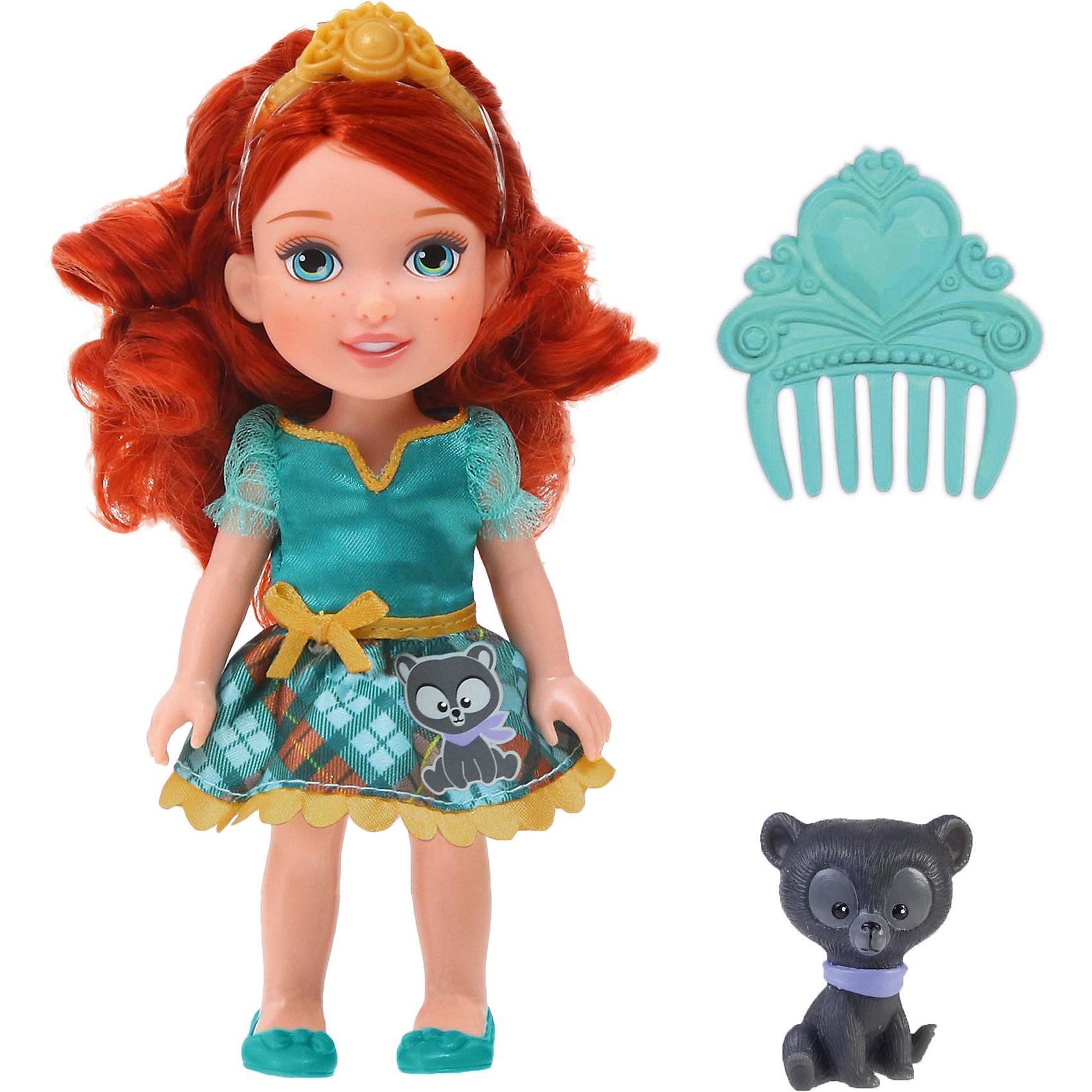 Кукла  Малышка с питомцем: Мерида, 15 см, Disney PrincessИгрушки<br>Кукла  Малышка с питомцем: Мерида, 15 см, Disney Princess – эта маленькая принцесса станет отличным подарком для девочки!<br>Кукла Disney Малышка с питомцем: Мерида непременно приведет в восторг вашу дочурку и обязательно станет ее любимой игрушкой. Кукла одета в нарядное платье юбочка, которого украшена аппликацией в виде медвежонка. На голове Мериды тиара.  Волосы мягкие на ощупь, их можно заплетать и укладывать в различные прически. Глазки куклы выполнены по особой запатентованной технологии - линзы делают их яркими и живыми. Милую очаровательную малышку с выразительным личиком сопровождает ее любимый питомец, готовый встать на защиту в сложной ситуации. Благодаря играм с куклой, ваша девочка сможет развить фантазию и любознательность, овладеть навыками общения и научиться ответственности.<br><br>Дополнительная информация:<br><br>- В комплекте: кукла, питомец, гребешок<br>- Высота куклы: 15 см.<br>- Материал: пластик, текстиль<br><br>Куклу  Малышка с питомцем: Мерида, 15 см, Disney Princess можно купить в нашем интернет-магазине.<br><br>Ширина мм: 140<br>Глубина мм: 195<br>Высота мм: 60<br>Вес г: 201<br>Возраст от месяцев: 36<br>Возраст до месяцев: 84<br>Пол: Женский<br>Возраст: Детский<br>SKU: 4401534