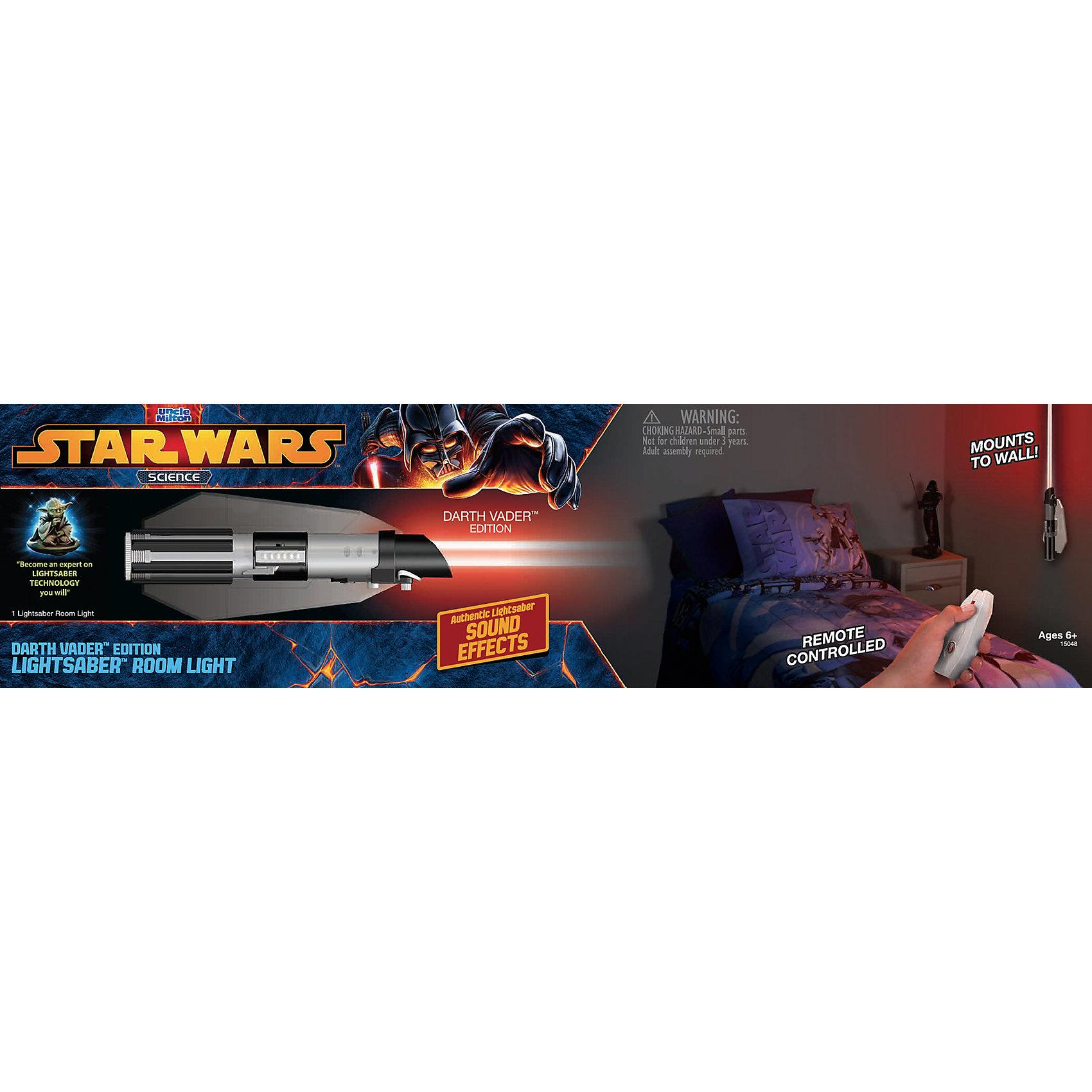 Световой меч-светильник Дарта Вейдера, Звёздные войныСветовой меч-светильник Дарта Вейдера, Звёздные войны - это световой меч ситха, который можно использовать в качестве ночника.<br>Меч-светильник в точности копирует световой меч Дарта Вейдера - и своим размером, и внешним видом. Меч собирается из нескольких элементов. В комплект входит крепление на стену, поместив меч в которое, он превращается в ночник, который будет освещать Вашу комнату, красным светом. Включать и выключать светильник можно, как нажимая кнопку непосредственно на нем самом, так и с помощью пульта на ИК управлении. При включении вы услышите те самые знаменитые звуки включения кино-мечей, которые невозможно не узнать и нельзя ни с чем перепутать.<br><br>Дополнительная информация:<br><br>- В наборе: детали меча, крепление на стену, пульт, инструкция<br>- Размер: 6 х 5,5 х 68 см.<br>- Материал: пластик, металл<br>- Батарейки: 5 x AAA / LR03 1.5V (в комплект не входят)<br>- Размер упаковки: 54 х 6,5 х 14 см.<br>- Вес: 532 гр.<br><br>Световой меч-светильник Дарта Вейдера, Звёздные войны можно купить в нашем интернет-магазине.<br><br>Ширина мм: 540<br>Глубина мм: 140<br>Высота мм: 65<br>Вес г: 532<br>Возраст от месяцев: 72<br>Возраст до месяцев: 144<br>Пол: Мужской<br>Возраст: Детский<br>SKU: 4401539