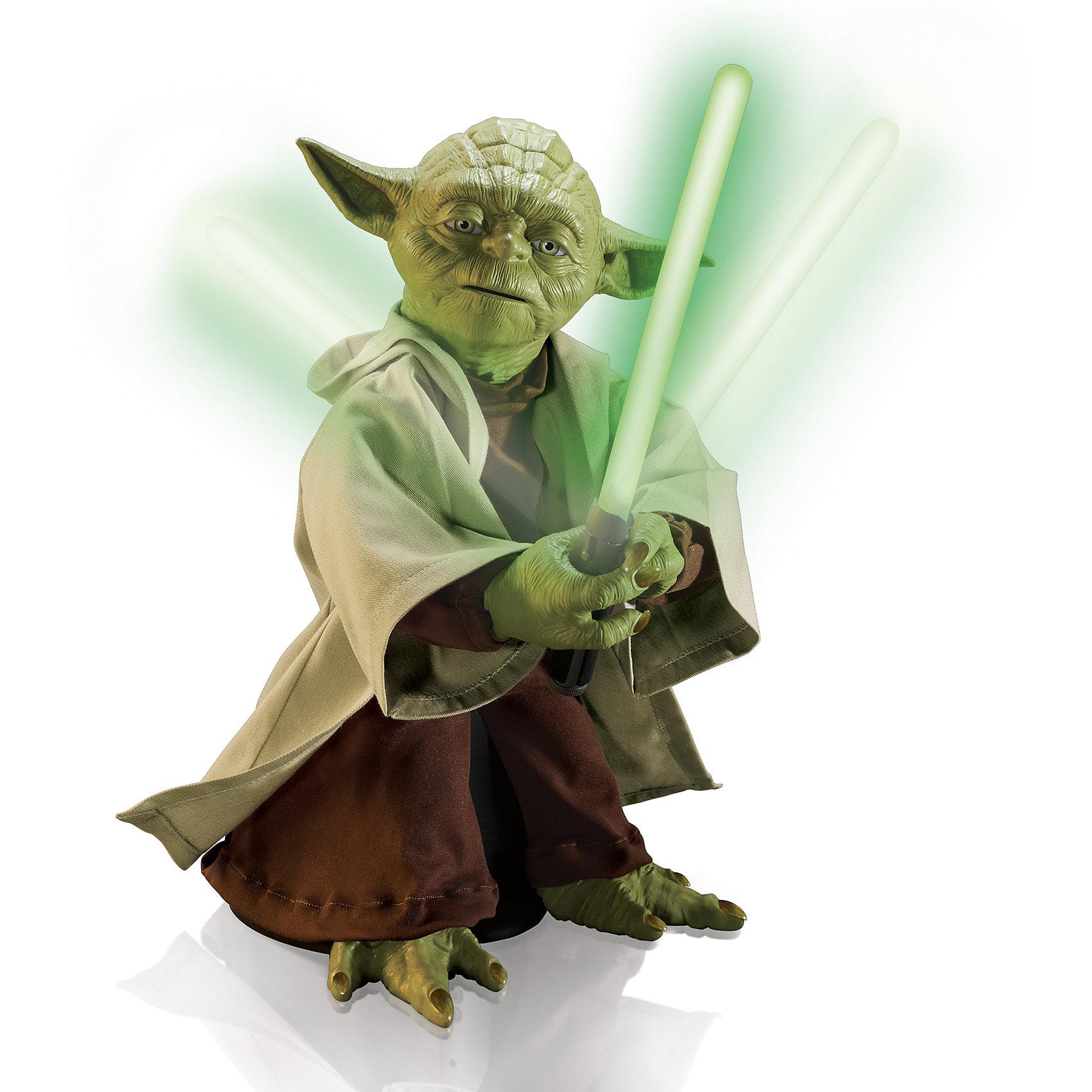 Игрушка Yoda, интерактивная, Звездные войныКоллекционные и игровые фигурки<br>Игрушка Yoda, интерактивная, Звездные войны - уникальный интерактивный Йода станет отличным подарком поклоннику Звёздных войн.<br>Магистр Yoda выполнен из латекса и пластмассы, а его одежда сделана из самой настоящей ткани. Благодаря использованию такого сочетания материалов, Йода выглядит невероятно реалистично и является точной копией персонажа из культовой саги! Фигура Йоды достигает высоты 40 сантиметров, в комплекте идут несколько аксессуаров: трость и световой меч. При вложении аксессуара в руки Йоды активируется один из режимов: война или мудрости. При отсутствии аксессуаров в лапах активируется режим ожидания или юмора. В этом режиме игрушка ожидает ваших действий, и время от времени произносит шутливые фразы в своём неподражаемом стиле. Режим «Мудрости» активируется после вложения в лапы Йоды трости. Фигурка распознаёт голос (только фразы на английском языке), произносит не менее 7 различных фраз и способен отвечать на вопросы: да, нет или возможно. Фигурка передвигается, постукивает тростью, у неё двигаются рот и руки. Режим «Война» активируется после вложения в лапы Йоды светового меча. Йода начнёт повторять движения из легендарных битв и комментировать их. Также он может преподать несколько базовых уроков владения световым мечом. Интерактивный Мастер Yoda, несмотря на свой довольно внушительный размер, может активно передвигаться в пространстве, с легкостью крутиться на 360 градусов, а также совершать отточенные и выверенные движения световым мечом, буквально разрезая воздух!<br><br>Дополнительная информация:<br><br>- В наборе: интерактивная фигурка Магистра Йоды, световой меч, трость, инструкция<br>- Высота фигурки: 40 см.<br>- Материал: латекс, текстиль, пластмасса<br>- Количество произносимых фраз: 115<br>- Батарейки: 6 х С/LR14 1.5V (в комплект не входят)<br>- Размер упаковки: 34 х 46 х 30 см.<br>- Вес: 3,78 кг.<br><br>Игрушку Yoda, интерактивную, Звездные войны можно купит