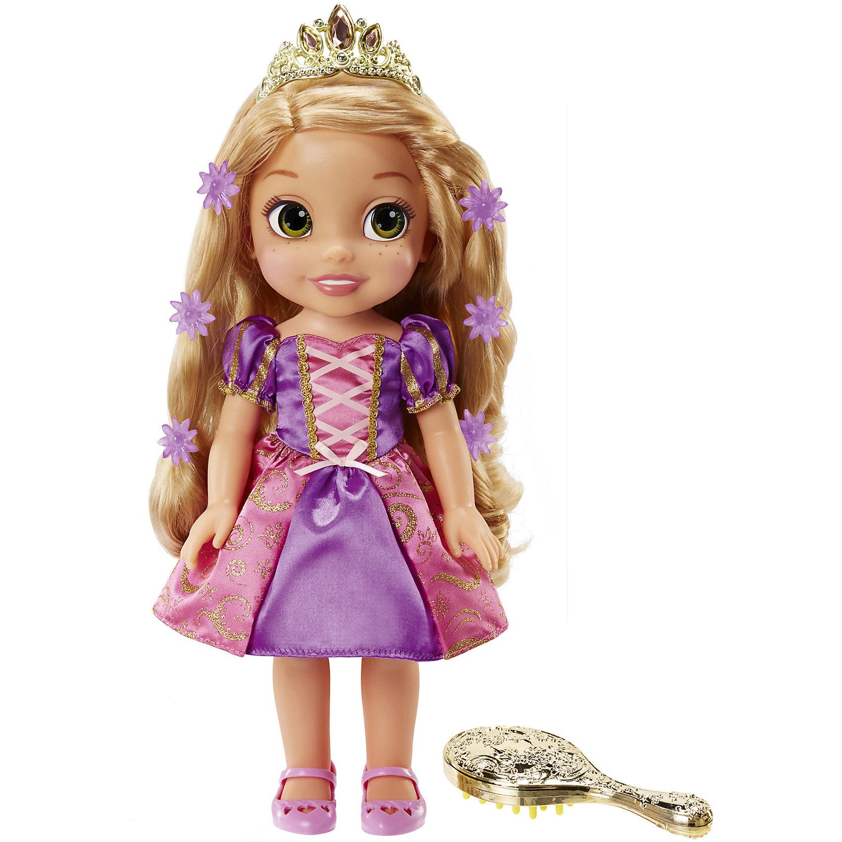 Кукла Рапунцель со светящимися волосами, Disney PrincessИгрушки<br>Кукла Рапунцель со светящимися волосами, Disney Princess – эта милая, улыбчивая, искрящаяся кукла вызовет радость у вашей девчонке.<br>Кукла Рапунцель вобрала в себя всю магию, как и в мультфильме, ведь у этой удивительной принцессы светятся волосы! Длинные и светлые волосы Рапунцель украшены двумя прядями, которые могут светиться, а также драгоценной диадемой. Для того, чтобы пряди малышки Рапунцель засияли, необходимо провести по ним расческой или нажать на кнопочку на платье. Кроме того, маленькая принцесса исполнит песню из мультфильма! Кукла одета в легкое и воздушное розово-фиалковое платье, на ножках у неё розовые туфельки. У Рапунцель большие глаза, на щечках есть веснушки, курносый носик и розовые губки. Волосы у куклы прошивные, поэтому вы можете расчесывать их и заплетать в различные прически. Кукла Рапунцель со светящимися волосами напомнит про сказочную историю и позволит воплотить в жизнь самые смелые и волшебные идеи.<br><br>Дополнительная информация:<br><br>- В наборе: кукла, расческа<br>- Высота куклы: 35 см.<br>- Материал: текстиль, пластмасса<br>- Батарейки: 3 х AAA/LR03 1.5V (входят в комплект)<br>- Размер упаковки: 31 x 12 х 38 см.<br>- Вес: 1,183 кг.<br><br>Куклу Рапунцель со светящимися волосами, Disney Princess можно купить в нашем интернет-магазине.<br><br>Ширина мм: 310<br>Глубина мм: 380<br>Высота мм: 120<br>Вес г: 1183<br>Возраст от месяцев: 36<br>Возраст до месяцев: 84<br>Пол: Женский<br>Возраст: Детский<br>SKU: 4401546