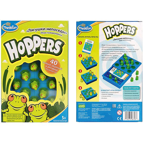 Лягушки-непоседы Hoppers, ThinkfunНастольные игры для всей семьи<br>Лягушки-непоседы Hoppers, Thinkfun (Синкфан) – эта игра-головоломка с понятными правилами обязательно понравится детям!<br>Игра «Лягушки-непоседы» развивает пространственное мышление и логические способности у детей. Будет интересна как детям, так и взрослым. В комплекте 40 карточек с заданиями четырех уровней сложности: «Начинающий», «Продвинутый», «Опытный» и «Эксперт». На каждый уровень сложности приходится 10 карточек. На обратных сторонах карточек приведены решения соответствующих заданий. Выберите карточку с заданием и расположите лягушек в соответствии со схемой, представленной на карточке. Игрок может перемещать по игровому полю любую лягушку, при этом она обязана перепрыгнуть через соседнюю лягушку. Лягушка, через которую перепрыгнули, убирается с игрового поля. Перепрыгивать через красную лягушку запрещено. Задание будет выполнено, когда на игровом поле останется одна красная лягушка. Постепенно усложняющиеся задания не дадут ребенку заскучать, а последние уровни заставят даже взрослых поломать голову. Карточки с заданиями и фигурки лягушек удобно убираются в игровое поле. Игра очень компактная и отлично подойдёт для того, чтобы скоротать время в дороге.<br><br>Дополнительная информация:<br><br>- В комплекте: игровое поле с отсеком для хранения, 40 карточек с заданиями, 12 лягушек-непосед (11 зеленых и 1 красная), инструкция<br>- Материал: пластик<br>- Количество игроков: 1<br>- Продолжительность игры: от 15 до 20 минут<br>- Размер упаковки: 203x135x64 мм.<br>- Вес: 238 гр.<br><br>Игру Лягушки-непоседы Hoppers, Thinkfun (Синкфан) можно купить в нашем интернет-магазине.<br>Ширина мм: 200; Глубина мм: 65; Высота мм: 135; Вес г: 200; Возраст от месяцев: 60; Возраст до месяцев: 144; Пол: Унисекс; Возраст: Детский; SKU: 4402175;