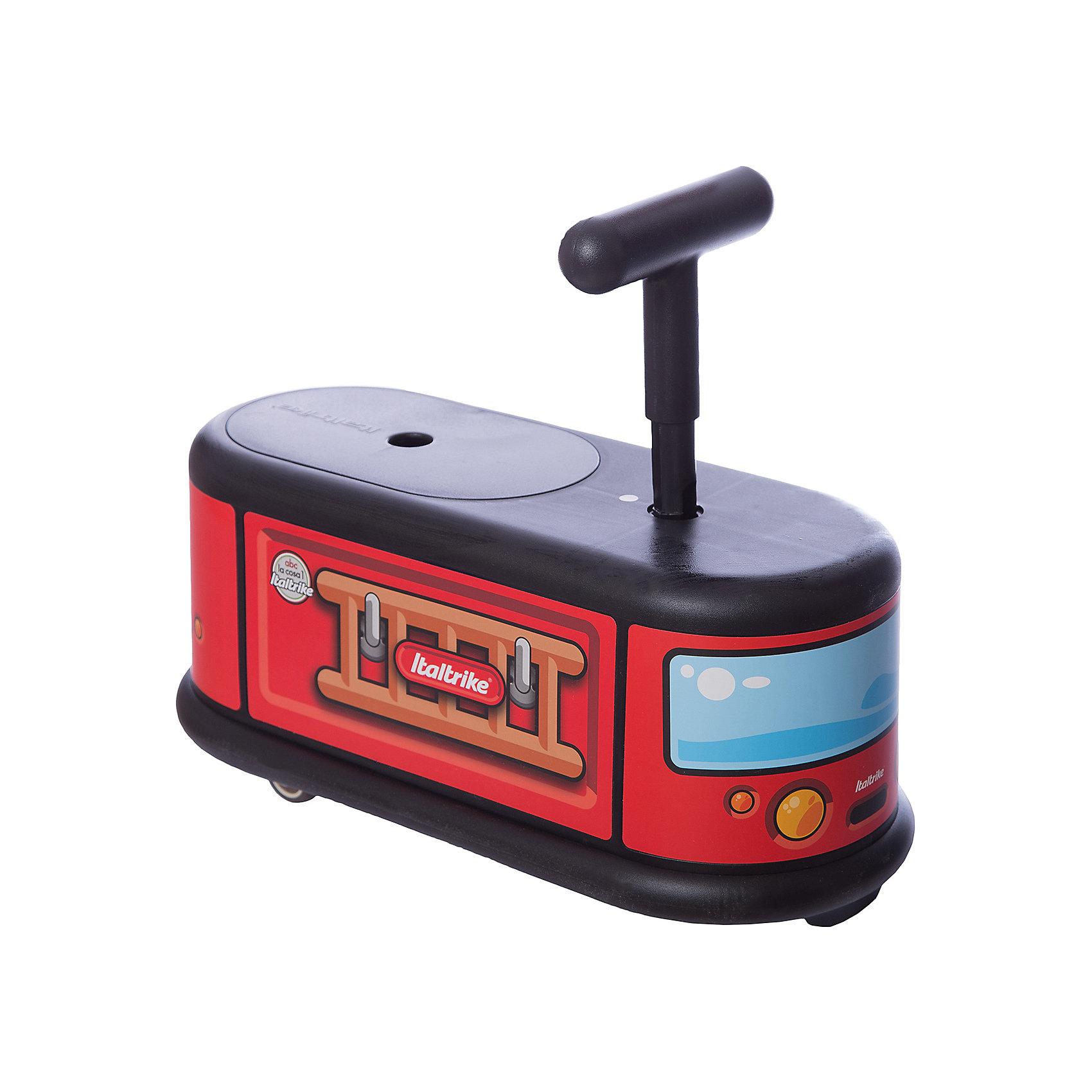 Каталка Пожарная машина, ItaltrikeМашинки-каталки<br>Каталка Пожарная машина, Italtrike (Италтрайк) - это стильная, удобная и продуманная каталка с оригинальным дизайном.<br>Яркая каталка Пожарная машина от Italtrike (Италтрайк) - великолепный транспорт для малышей, который доставит им множество веселых минут. Каталка выполнена в виде красочной пожарной машины. Удобное сидение позволит малышу комфортно сидеть при движении, а ручка - контролировать свои перемещения. Маленькие, но очень надежные колеса обеспечивают легкое управление. Передние колеса каталки вращаются на 360 градусов, что делает её очень маневренной и удобной для перемещения. Задние колеса стационарные. Колеса каталки прорезинены, это позволяет ей ездить очень тихо и не портить поверхность пола. Каталка не перевернётся, за счёт нижних бортиков она очень устойчива, а сидение и руль имеют шероховатую поверхность и не скользят. Под сидением есть пространство для игрушек. На каталке можно перемещаться, отталкиваясь ножками или же ездить, закинув их наверх. Каталка изготовлена из высокопрочного пластика.<br><br>Дополнительная информация:<br><br>- Выдерживает нагрузку до 50 кг<br>- Высота сиденья: 21 см.<br>- Длина всей каталки: 48 см.<br>- Материал: пластик<br>- Упаковка: подарочная коробка<br>- Размер упаковки: 49 x 22 х 21 см.<br>- Вес: 2,5 кг.<br><br>Каталку Пожарная машина, Italtrike (Италтрайк) можно купить в нашем интернет-магазине.<br><br>Ширина мм: 490<br>Глубина мм: 220<br>Высота мм: 210<br>Вес г: 2500<br>Возраст от месяцев: 12<br>Возраст до месяцев: 72<br>Пол: Унисекс<br>Возраст: Детский<br>SKU: 4403117