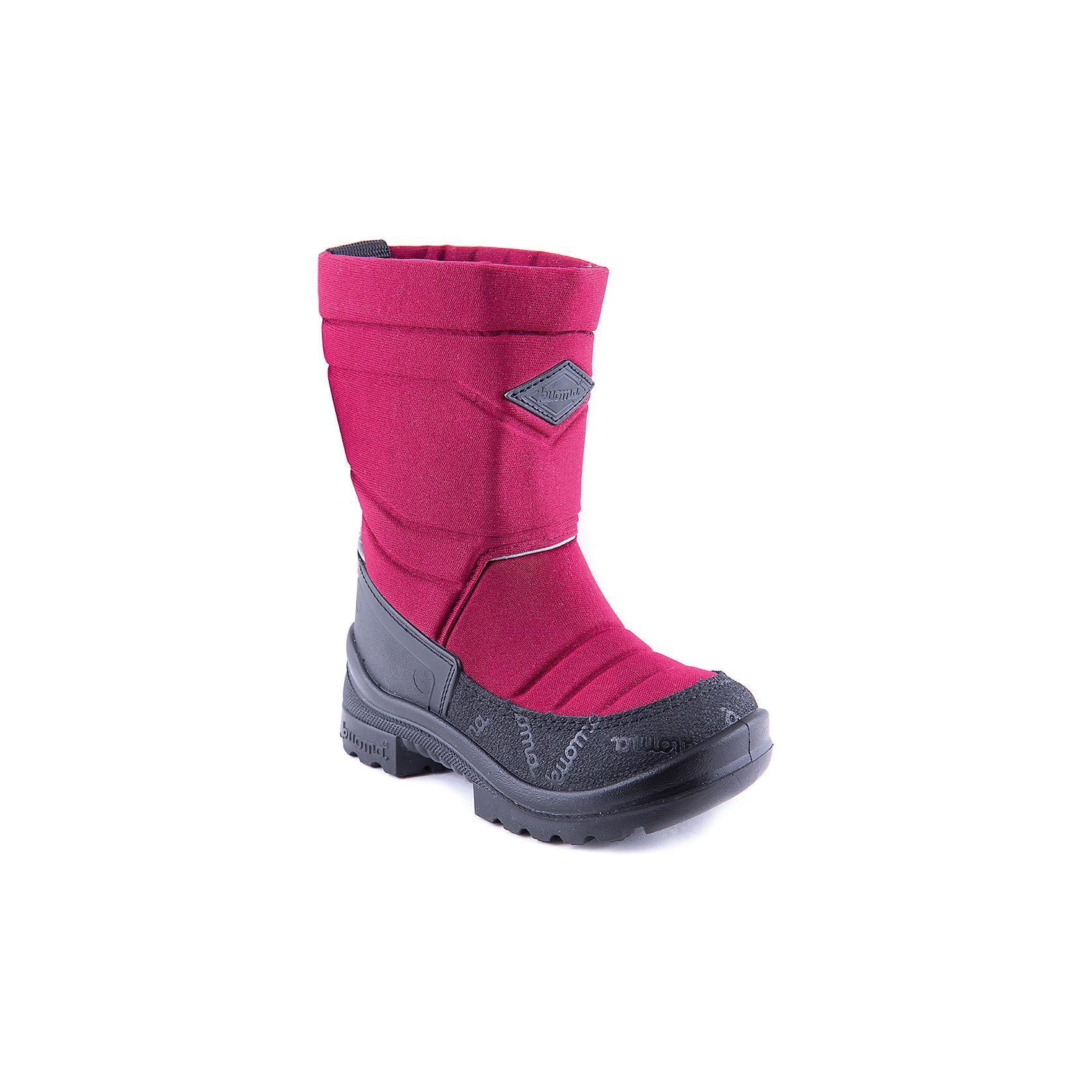 Зимние сапоги для девочки KUOMAЗимние сапоги PUTKIVARSI от известного финского бренда kuoma® (Куома) исключительно теплые и очень удобные. Все изделия имеют крепкую амортизирующую подошву, которая «работает» даже в холодных зимних условиях. Кроме того, обувь снабжена сменными стельками и светоотражающими полосками в целях повышения безопасности. Матерчатый верх обуви проходят специальную противогрязевую и влагоотталкивающую обработку. Обувь kuoma® (Куома) подходит даже для самых холодных зим.<br><br>Температурный режим: от - 5°C до - 30°C.<br><br>Состав:<br>Верх - триплированный, износостойкий, влагостойкий материал, стелька - иск/войлок, подошва - износостойкая, гибкая из полиуритана.Состав: <br>Материал верха: Полиамид с пропиткой.<br><br>Ширина мм: 257<br>Глубина мм: 180<br>Высота мм: 130<br>Вес г: 420<br>Цвет: бордовый<br>Возраст от месяцев: 132<br>Возраст до месяцев: 144<br>Пол: Женский<br>Возраст: Детский<br>Размер: 35,34,33,31,29,28,26,25,22,21,23,27,32,37,39,38,20,30,24,36<br>SKU: 4403183