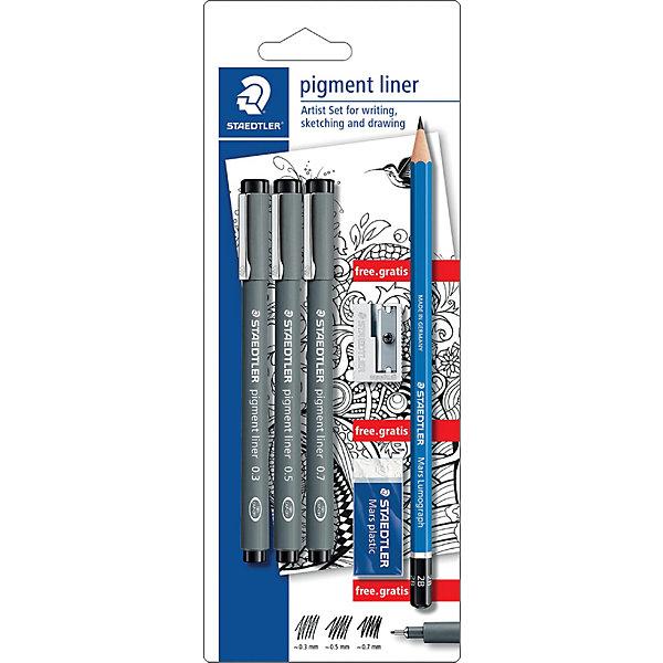 Набор капиллярных ручек Pigment liner, 3шт: (0,3/0,5/0,7 мм), StaedterШкольные аксессуары<br>Характеристики:<br><br>• возраст: от 9 лет<br>• в наборе: 3 капиллярных ручки (цвет чернил: чёрный, толщина линии: 0,3/0,5/0,7 мм); чернографитовый карандаш 2В; ластик; точилка (бесплатно).<br>• упаковка: блистер<br>• размер упаковки: 23,5х9,1х1,5 см.<br>• вес: 73 гр.<br><br>Набор Staedtler (Штедлер) отличается качеством и практичностью. Он включает в себя 3 капиллярные ручки, чернографитовый карандаш твердостью 2В, ластик, точилку, которая включена в набор бесплатно.<br><br>Капиллярные ручки Pigment Liner предназначены для письма, набросков и черчения. Удлиненный металлический узел идеален для работы с линейками и шаблонами. Пигментные чернила, несмываемые, свето- и водоустойчивые. Стираются с кальки, не размазываются при выделении текстовыделителем. Ручку можно оставить без колпачка на 18 часов и не опасаться высыхания. Корпус из пропилена гарантирует долгий срок службы. В набор входят 3 ручки с разной толщиной линий: 0,3; 0,5 и 0,7 мм. Цвет чернил: черный.<br><br>Чернографитовый карандаш предназначен для школы и офиса. Непревзойденная устойчивость к поломке благодаря специально разработанному грифелю и особой проклейке. При производстве используется качественная древесина. Грифель твердостью - - 2B.<br><br>Ластик Mars plastic – прекрасно удаляет графит с бумаги и чертежной кальки. Изготовлен из термопластического синтетического каучука, гипоаллергенен.<br><br>Металлическая точилка с одним отверстием подходит для стандартных чернографитовых карандашей диаметром до 8,2 мм с углом заточки 23° для четких и аккуратных линий.<br><br>Набор капиллярных ручек Pigment liner, 3шт.: (0,3/0,5/0,7 мм), цвет черный + карандаш + ластик + точилка, Staedter (Штедлер) можно купить в нашем интернет-магазине.<br>Ширина мм: 236; Глубина мм: 91; Высота мм: 15; Вес г: 75; Возраст от месяцев: 96; Возраст до месяцев: 144; Пол: Унисекс; Возраст: Детский; SKU: 4406858;