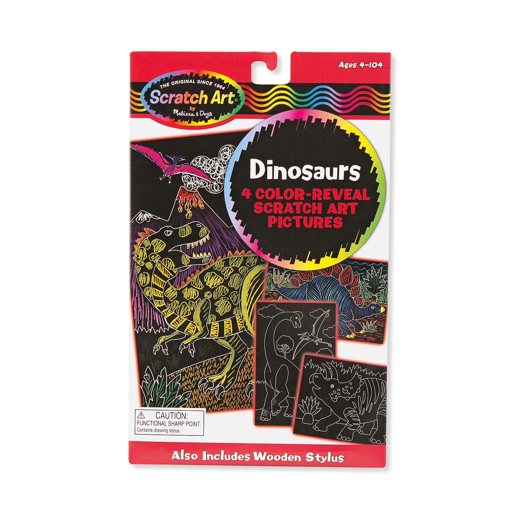 Scrach art ДинозаврыГравюры<br>Оригинальная техника создания этих работ обязательно привлечет внимание детей и поможет развить мелкую моторику, внимание и творческие способности. Набор включает в себя четыре картинки, изображающие динозавров, для того, чтобы рисунки проявились, нужно потереть по поверхности листа деревянным стилусом. Яркая, оригинальная гравюра сможет украсить стену детской комнаты или же станет прекрасным подарком, сделанным своими руками! Компания Melissa&amp;Doug придерживается самых высоких стандартов качества и безопасности, используя в производстве своей продукции только экологичные материалы и гипоаллергенные красители.<br><br>Дополнительная информация:<br><br>- Материал: картон, дерево.<br>- Количество картинок: 4 <br>- Размер упаковки: 27 х 20 х 1 см.<br>- Комплектация: 4 картинки, стилус.<br><br>Набор Scratch art Динозавры можно купить в нашем магазине.<br><br>Ширина мм: 250<br>Глубина мм: 160<br>Высота мм: 10<br>Вес г: 68<br>Возраст от месяцев: 60<br>Возраст до месяцев: 120<br>Пол: Унисекс<br>Возраст: Детский<br>SKU: 4407123