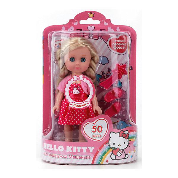 Кукла Машенька Hello kitty, 15см, КарапузИгрушки<br>Эта очаровательная куколка обязательно понравится девочкам! Если нажать на кнопку на груди, она споет веселую песенку, расскажет стихи или развлечет разговором. Машенька одета в красивое розовое платье с изображением Hello Kitty (Хелло Китти), на ногах у нее - миниатюрные розовые туфельки. Длинные белокурые волосы куклы мягкие и шелковистые, их очень приятно расчесывать, создавая всевозможные прически. Глаза с настоящими ресницами смотрятся невероятно живо и выразительно. Машенька очень похожа на маленькую девочку, без яркого макияжа и эпатажной одежды - то что нужно для еще совсем юных малышек. <br><br>Дополнительная информация:<br><br>- Материал: пластик, текстиль.<br>- Размер куклы: 15 см.<br>- Голова, руки, ноги куклы подвижные.<br>- Комплектация: кукла, одежда, обувь, расческа. <br>- 50 фраз, стихов и песенок.<br>- Элемент питания: 3 батарейки LR41 (в комплекте).<br><br>Кукла Машеньку, Hello kitty, 15см, Карапуз, можно купить в нашем магазине.<br><br>Ширина мм: 460<br>Глубина мм: 480<br>Высота мм: 820<br>Вес г: 190<br>Возраст от месяцев: 36<br>Возраст до месяцев: 84<br>Пол: Женский<br>Возраст: Детский<br>SKU: 4408239
