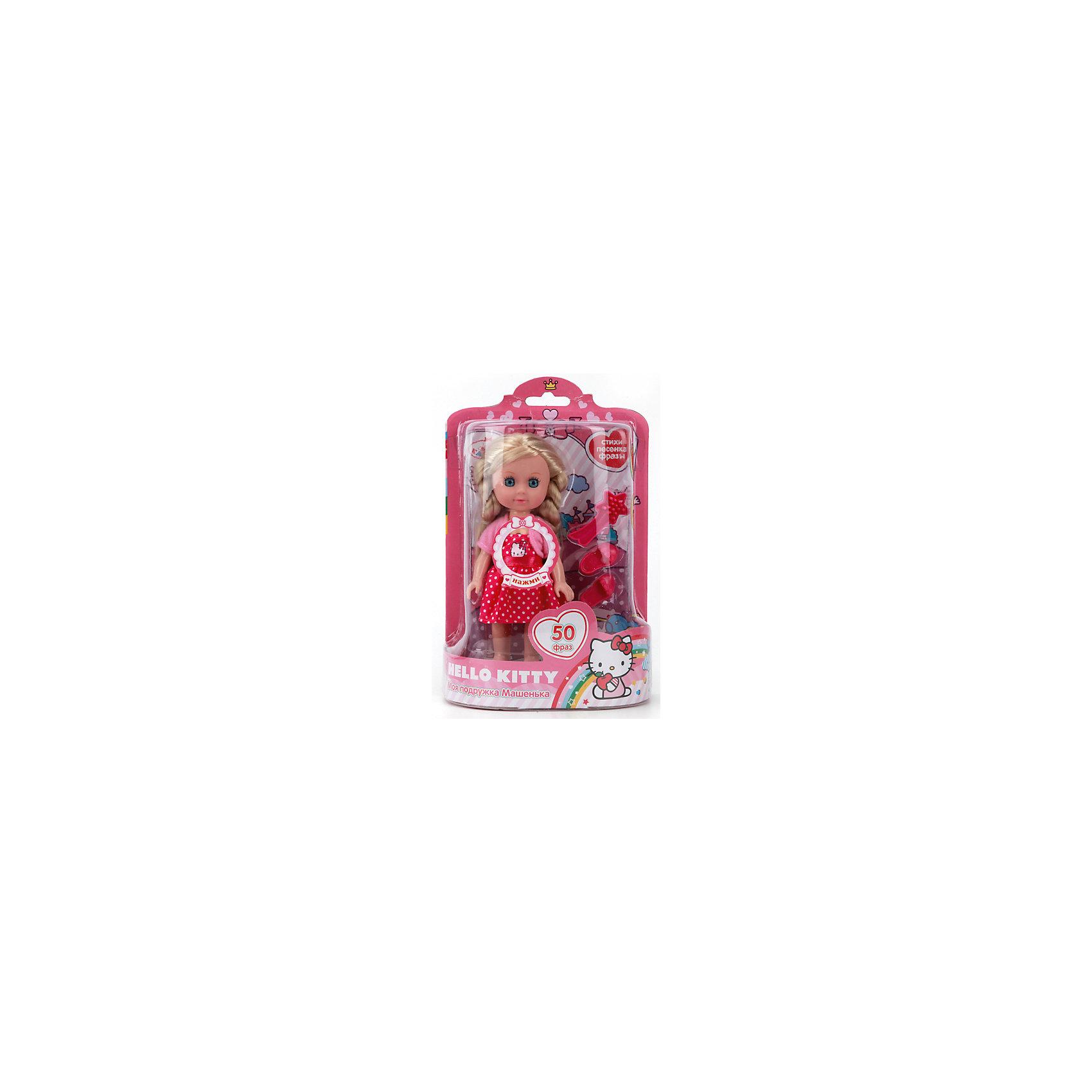 Кукла Машенька Hello kitty, 15см, КарапузЭта очаровательная куколка обязательно понравится девочкам! Если нажать на кнопку на груди, она споет веселую песенку, расскажет стихи или развлечет разговором. Машенька одета в красивое розовое платье с изображением Hello Kitty (Хелло Китти), на ногах у нее - миниатюрные розовые туфельки. Длинные белокурые волосы куклы мягкие и шелковистые, их очень приятно расчесывать, создавая всевозможные прически. Глаза с настоящими ресницами смотрятся невероятно живо и выразительно. Машенька очень похожа на маленькую девочку, без яркого макияжа и эпатажной одежды - то что нужно для еще совсем юных малышек. <br><br>Дополнительная информация:<br><br>- Материал: пластик, текстиль.<br>- Размер куклы: 15 см.<br>- Голова, руки, ноги куклы подвижные.<br>- Комплектация: кукла, одежда, обувь, расческа. <br>- 50 фраз, стихов и песенок.<br>- Элемент питания: 3 батарейки LR41 (в комплекте).<br><br>Кукла Машеньку, Hello kitty, 15см, Карапуз, можно купить в нашем магазине.<br><br>Ширина мм: 460<br>Глубина мм: 480<br>Высота мм: 820<br>Вес г: 190<br>Возраст от месяцев: 36<br>Возраст до месяцев: 84<br>Пол: Женский<br>Возраст: Детский<br>SKU: 4408239
