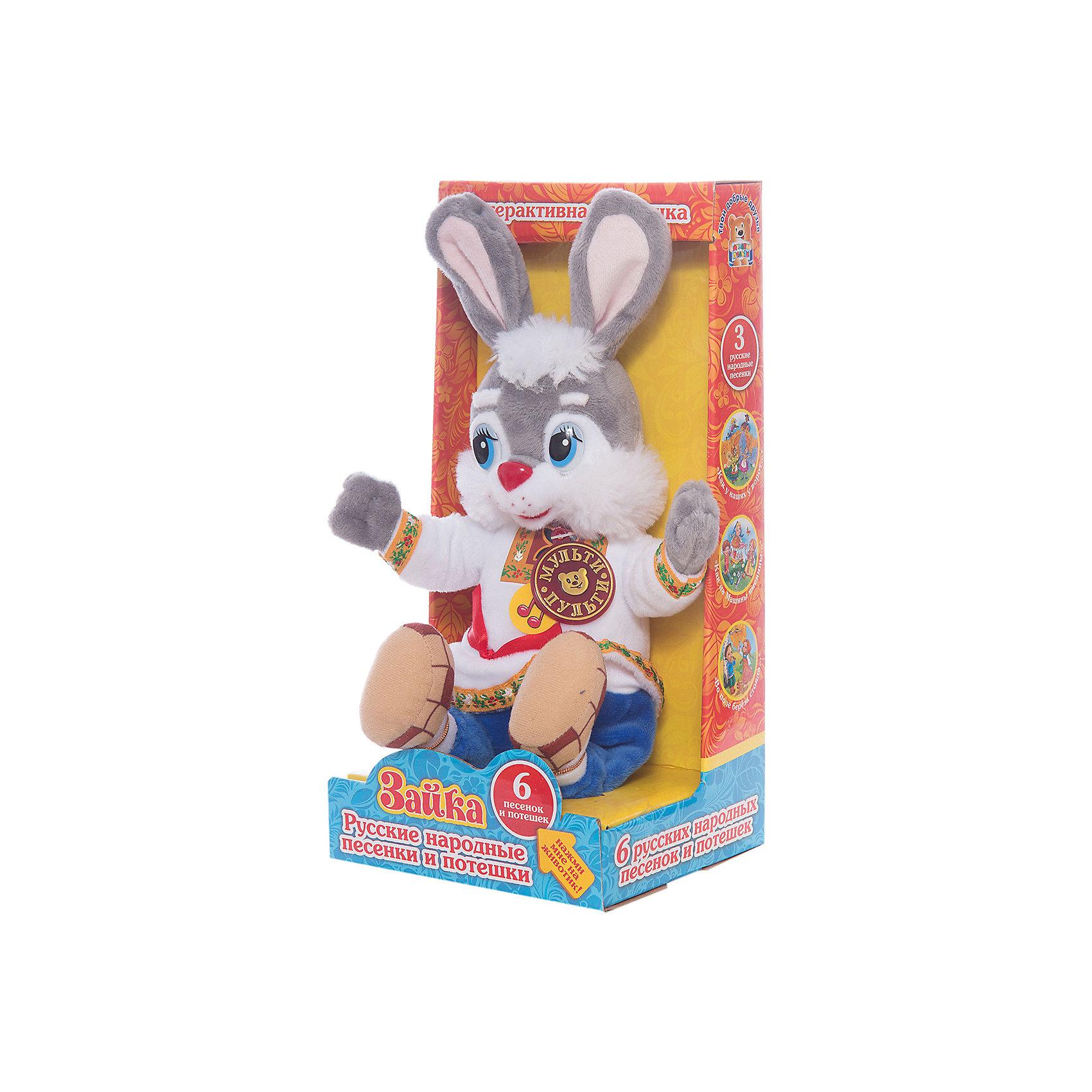 Мягкая игрушка Заяц, со звуком, МУЛЬТИ-ПУЛЬТИЗайцы и кролики<br>Очаровательный мягкий зайка из всеми любимого мультфильма Ну погоди обязательно понравится малышам! Он знает много веселых песенок и готов порадовать ими кроху. Игрушка выполнена из высококачественных гипоаллергенны материалов, очень приятна наощупь, похожа на героя мультфильма. <br><br>Дополнительная информация:<br><br>- Материал: полиэстер, пластик, искусственный мех.<br>- Размер: 13 x 15 х 30 см.<br>- 6 песен.<br>- Элемент питания: батарейки (в комплекте).<br><br>Мягкую игрушку Заяц, Мульти-пульти, можно купить в нашем магазине.<br><br>Ширина мм: 650<br>Глубина мм: 430<br>Высота мм: 320<br>Вес г: 250<br>Возраст от месяцев: 36<br>Возраст до месяцев: 84<br>Пол: Унисекс<br>Возраст: Детский<br>SKU: 4408250