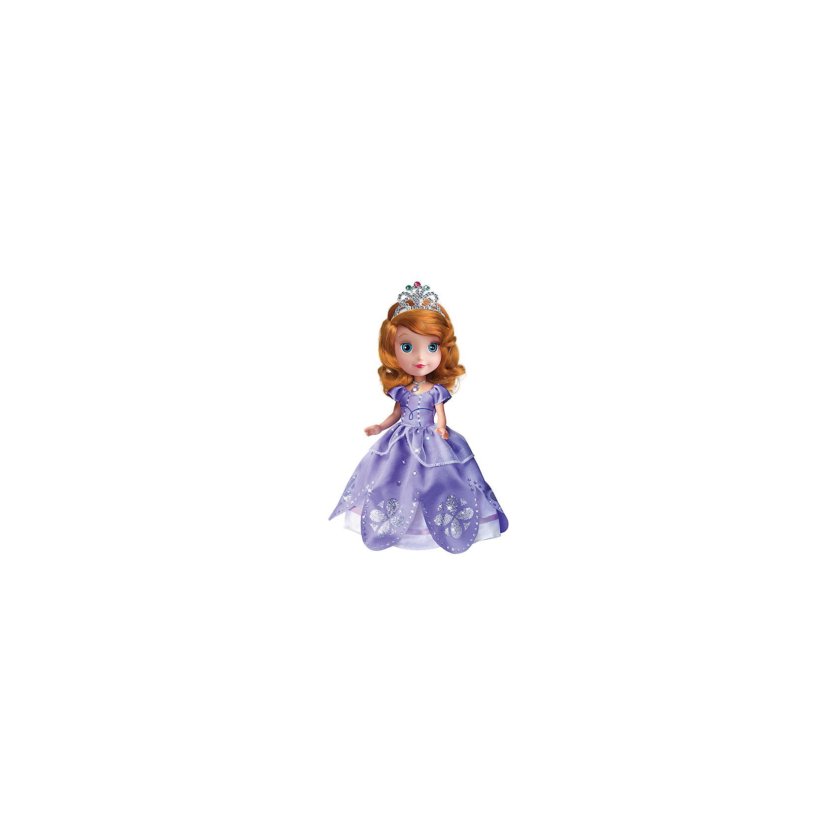 Кукла София Прекрасная, 25 см, КарапузИгрушки<br>Очаровательная София не оставит равнодушной ни одну девочку! Куколка очень похожа на героиню мультфильма Disney. У нее такие же роскошные рыжие волосы, из которых получится множество прекрасных причесок. Одета София в красивое сиреневое платье с пышной юбкой. Голову венчает блестящая корона. Если нажать на медальон куколки, она начнет рассказывать стихи или же споет песню. Сам медальон будет светиться, сделав принцессу еще прекраснее.<br>Отличный подарок для всех поклонниц Disney Princess (Принцессы Диснея)!<br><br>Дополнительная информация:<br><br>- Материал: пластик, текстиль.<br>- Комплектация: кукла, расческа.<br>- Размер куклы: 25 см.<br>- Световые, звуковые эффекты.<br>- Элемент питания: 3 батарейки LR41 (в комплекте).<br>- Голова, руки, ноги куклы подвижные.    <br><br>Куклу Софию Прекрасную, 25 см, Карапуз, можно купить в нашем магазине.<br><br>Ширина мм: 300<br>Глубина мм: 60<br>Высота мм: 300<br>Вес г: 350<br>Возраст от месяцев: 36<br>Возраст до месяцев: 84<br>Пол: Женский<br>Возраст: Детский<br>SKU: 4408251