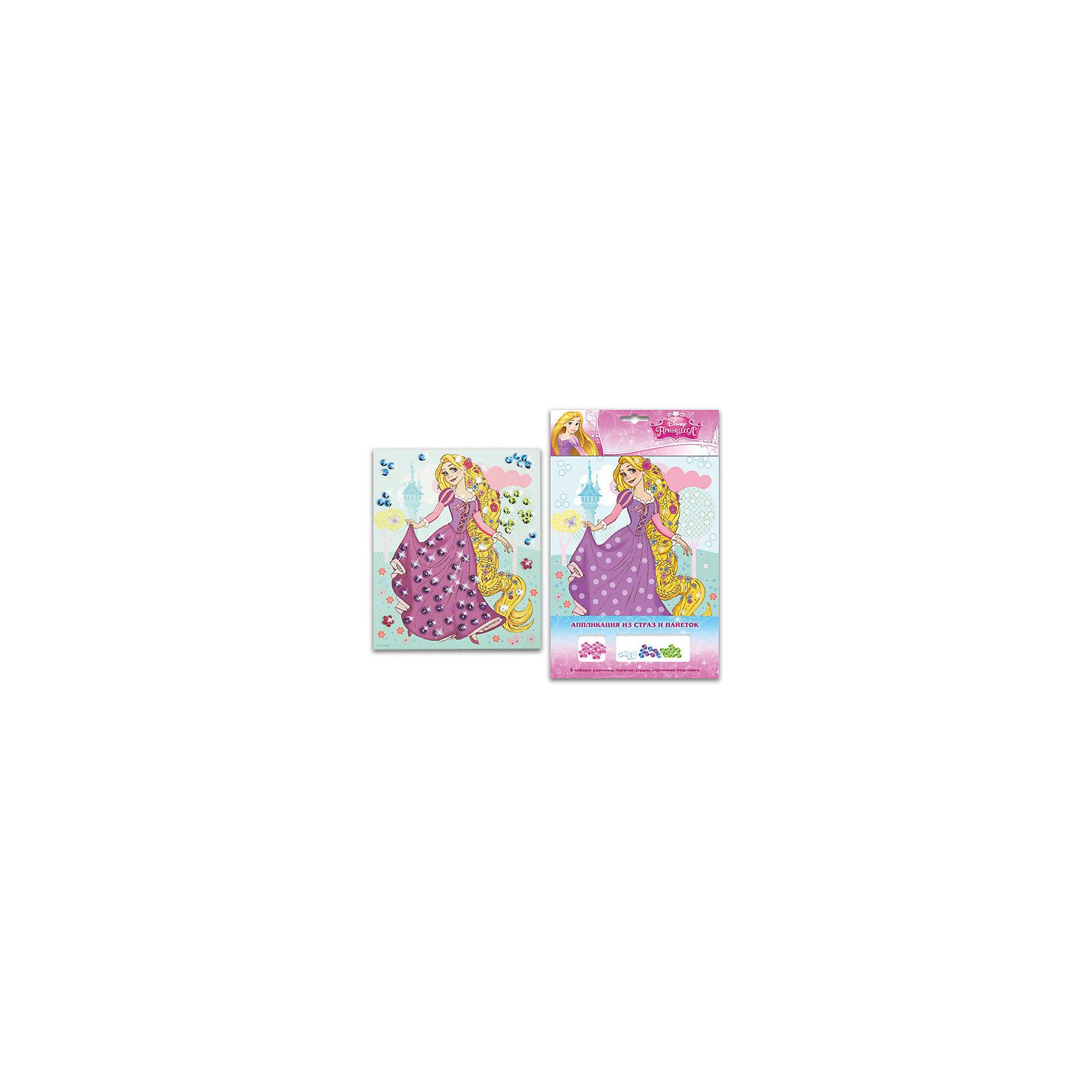 Росмэн Аппликация из страз и пайеток Рапунцель, Принцессы Дисней карапуз кукла рапунцель со светящимся амулетом 37 см со звуком принцессы дисней карапуз