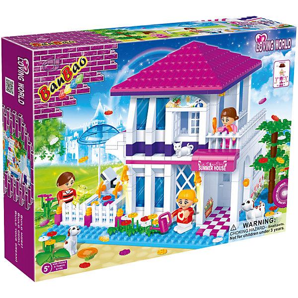 Конструктор Летний дом, BanBaoПластмассовые конструкторы<br>Конструирование - увлекательный и полезный процесс, развивающий мелкую моторику, мышление и фантазию. Яркий конструктор, созданный специально для девочек, обязательно заинтересует малышек. С помощью этого набора можно построить роскошный двухэтажный дом, в котором есть все необходимое для прекрасного отдыха: просторные комнаты, веранда, задний двор с бассейном и ухоженные цветники. Множество прекрасно проработанных деталей и пять фигурок открывают простор для всевозможных игр, развивающих воображение ребенка.  Все детали конструктора выполнены из высококачественного экологичного пластика, имеют идеально гладкую поверхность и прочно крепятся друг к другу. Прекрасный вариант для подарка на любой праздник. <br><br>Дополнительная информация:<br><br>- Конструктор развивает усидчивость, внимание, фантазию и мелкую моторику.<br>- Материал: пластик.<br>- Комплектация: 5 фигурок, детали конструктора. <br>- Количество деталей: 425<br>- Размер упаковки: 45х35х7 см.<br>- Вес: 1,3 кг. <br><br>Конструктор Летний дом, BanBao (БанБао), можно купить в нашем магазине.<br><br>Ширина мм: 400<br>Глубина мм: 300<br>Высота мм: 70<br>Вес г: 1033<br>Возраст от месяцев: 60<br>Возраст до месяцев: 144<br>Пол: Унисекс<br>Возраст: Детский<br>SKU: 4411814