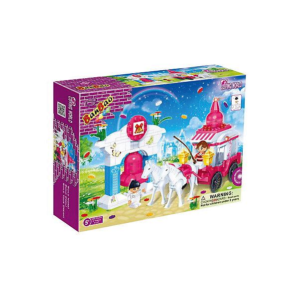 Конструктор Карета с упряжкой лошадей, BanBaoПластмассовые конструкторы<br>Конструирование - увлекательный и полезный процесс, развивающий мелкую моторику, мышление и фантазию. Яркий конструктор, созданный специально для девочек, обязательно заинтересует малышек. Девочки мечтают о своей собственной карете со сказочно красивыми лошадьми: позвольте детской мечте осуществиться! С помощью этого набора можно создать прекрасную карету, двух грациозных белых лошадок и красивую арку. Множество прекрасно проработанных деталей и две фигурки открывают простор для всевозможных игр, развивающих воображение ребенка.  Все детали конструктора выполнены из высококачественного экологичного пластика, имеют идеально гладкую поверхность и прочно крепятся друг к другу. Прекрасный вариант для подарка на любой праздник. <br><br>Дополнительная информация:<br><br>- Конструктор развивает усидчивость, внимание, фантазию и мелкую моторику.<br>- Материал: пластик.<br>- Комплектация: 2 фигурки, детали конструктора из которых можно создать карету, лошадей, арку. <br>- Количество деталей: 328.<br>- Размер упаковки: 33х25х8 см.<br>- Вес: 510 гр. <br><br>Конструктор Карета с упряжкой лошадей, BanBao (БанБао), можно купить в нашем магазине.<br><br>Ширина мм: 330<br>Глубина мм: 240<br>Высота мм: 70<br>Вес г: 581<br>Возраст от месяцев: 60<br>Возраст до месяцев: 144<br>Пол: Унисекс<br>Возраст: Детский<br>SKU: 4411815