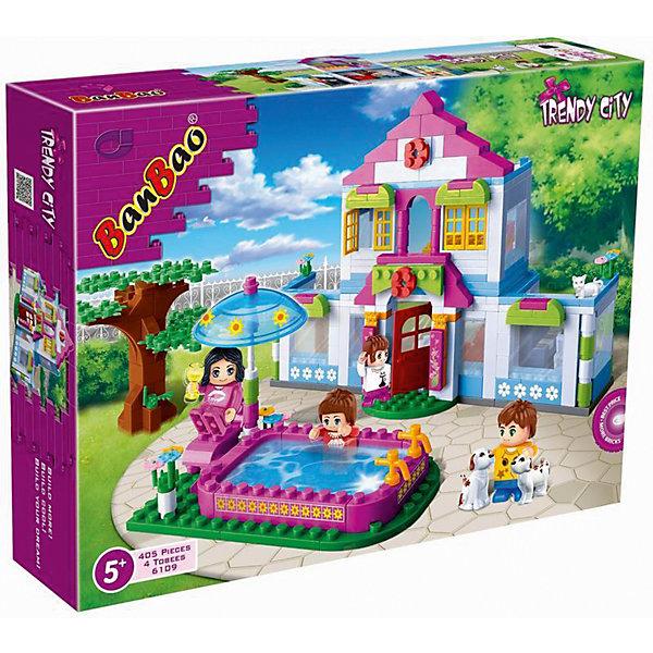 Конструктор Дом мечты, BanBaoПластмассовые конструкторы<br>Конструирование - увлекательный и полезный процесс, развивающий мелкую моторику, мышление и фантазию. Яркий конструктор, созданный специально для девочек, обязательно заинтересует малышек. Каждая девочка мечтает о своем уютном доме. С помощью этого конструктора можно построить не только красивый дом, но и просторный бассейн, в котором там приятно купаться во время летней жары! Множество прекрасно проработанных деталей и четыре фигурки открывают простор для всевозможных игр, развивающих воображение ребенка.  Все детали конструктора выполнены из высококачественного экологичного пластика, имеют идеально гладкую поверхность и прочно крепятся друг к другу. Прекрасный вариант для подарка на любой праздник. <br><br>Дополнительная информация:<br><br>- Конструктор развивает усидчивость, внимание, фантазию и мелкую моторику.<br>- Материал: пластик.<br>- Комплектация: 4 фигурки, детали конструктора из которых можно собрать дом, бассейн, дерево. <br>- Количество деталей: 405<br>- Размер упаковки: 40х30х7 см.<br>- Вес: 815 гр. <br><br>Конструктор Дом мечты, BanBao (БанБао), можно купить в нашем магазине.<br><br>Ширина мм: 400<br>Глубина мм: 300<br>Высота мм: 70<br>Вес г: 980<br>Возраст от месяцев: 60<br>Возраст до месяцев: 144<br>Пол: Унисекс<br>Возраст: Детский<br>SKU: 4411816