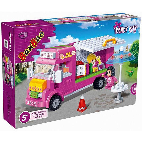 Конструктор Кафе-мороженое, BanBaoПластмассовые конструкторы<br>Характеристики:<br><br>• тип игрушки: конструктор;<br>• возраст: от 5 лет;<br>• размер: 28х5,6х19 см;<br>• количество деталей: 213;<br>• материал: пластик;<br>• комплектация: детали конструктора, две фигурки, инструкция;<br>• упаковка: картонная коробка;<br>• бренд: BanBao;<br>• страна производства: Китай.<br><br>Конструктор «Кафе-мороженое» BanBao из серии Trendy City - это конструктор,выполненный в соответствии с европейскими стандартами качества. Яркий и качественный, он абсолютно безопасен для Вашего ребенка. <br><br>С помощью этого конструктора ребенок может собрать передвижное кафе-мороженное и даже привести в него посетителя. Конструктор Кафе-мороженное - это еще один способ сделать игры ребенка разнообразней.<br><br>Игры с конструкторами позволяют ребенку развивать мелкую моторику, усидчивость, внимательность и фантазию. Все элементы конструкторов BanBao выполнены из качественного пластика, который прошел проверку на безопасность для детей.<br><br>Конструктор «Кафе-мороженое» BanBao можно купить в нашем интернет-магазине.<br>Ширина мм: 282; Глубина мм: 190; Высота мм: 56; Вес г: 500; Возраст от месяцев: 60; Возраст до месяцев: 144; Пол: Унисекс; Возраст: Детский; SKU: 4411822;